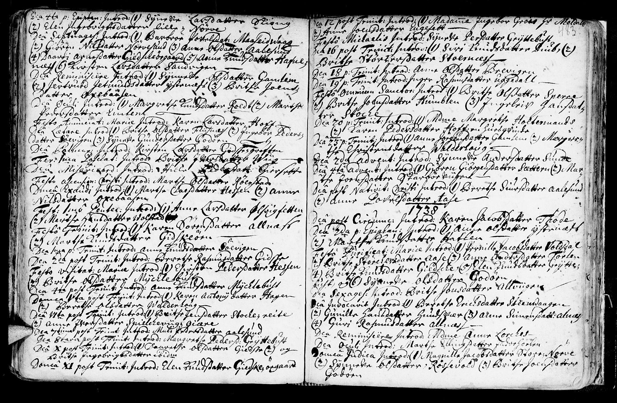 SAT, Ministerialprotokoller, klokkerbøker og fødselsregistre - Møre og Romsdal, 528/L0390: Ministerialbok nr. 528A01, 1698-1739, s. 482-483