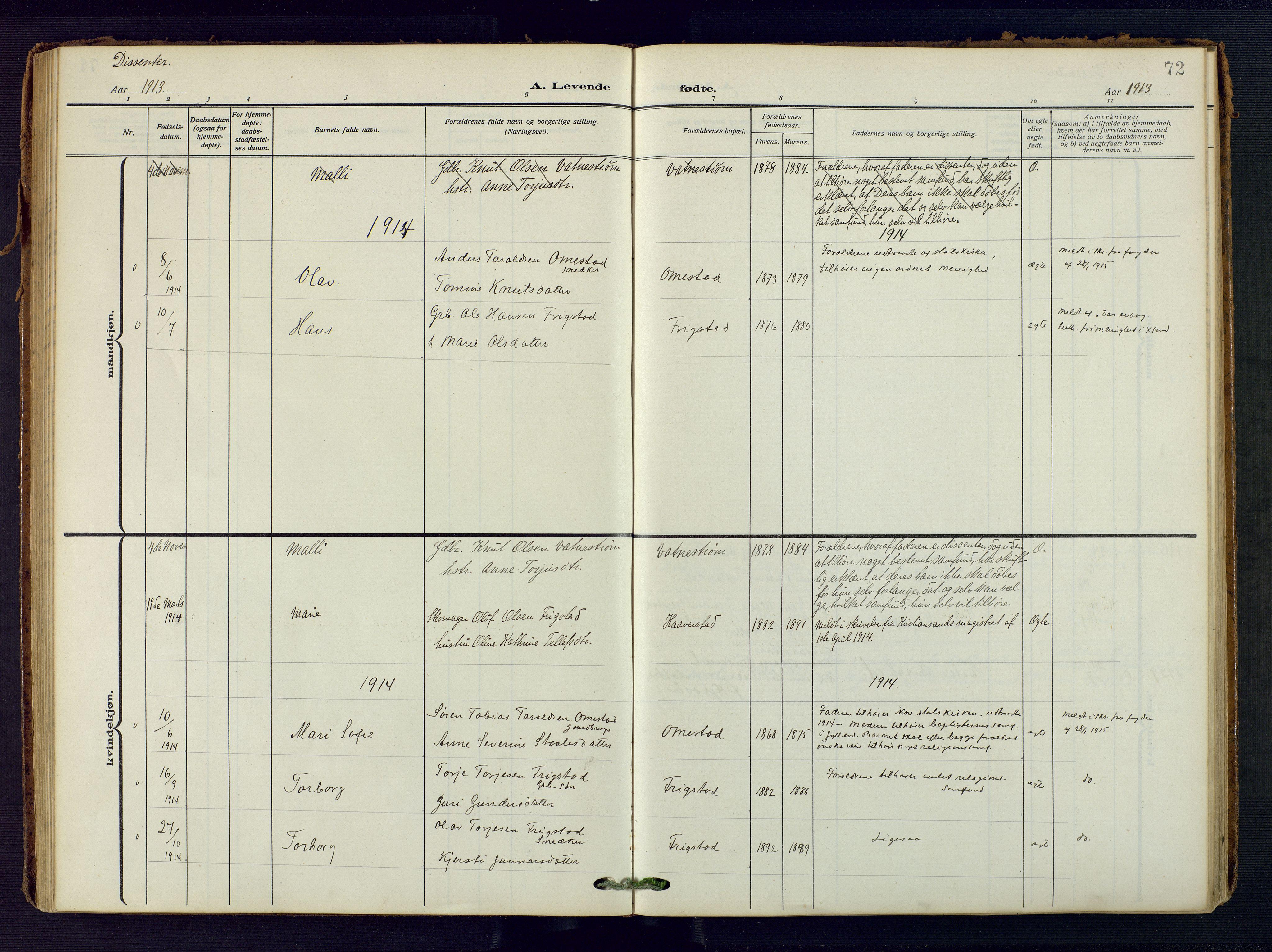 SAK, Evje sokneprestkontor, F/Fa/Fac/L0004: Ministerialbok nr. A 4, 1910-1932, s. 72