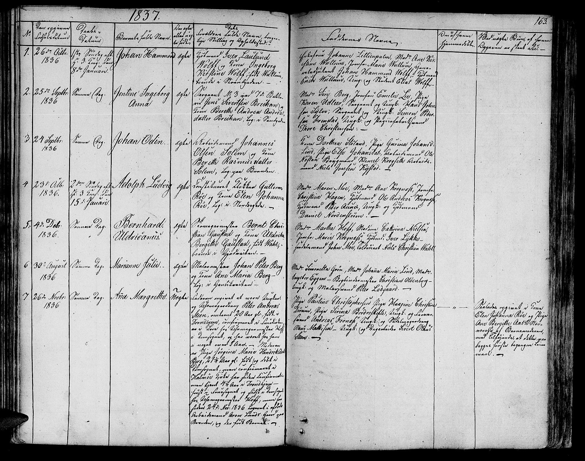 SAT, Ministerialprotokoller, klokkerbøker og fødselsregistre - Sør-Trøndelag, 602/L0108: Ministerialbok nr. 602A06, 1821-1839, s. 163