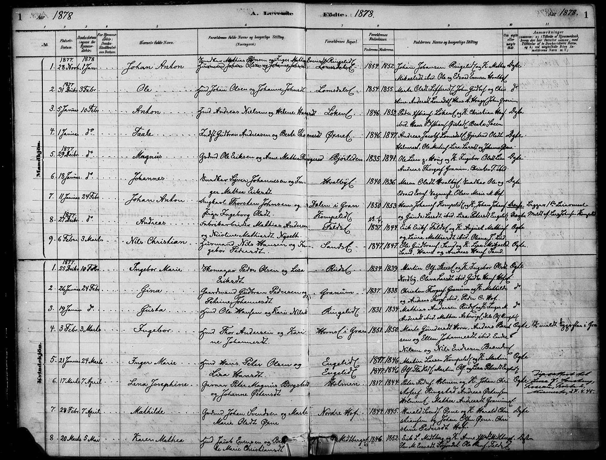 SAH, Søndre Land prestekontor, K/L0003: Ministerialbok nr. 3, 1878-1894, s. 1