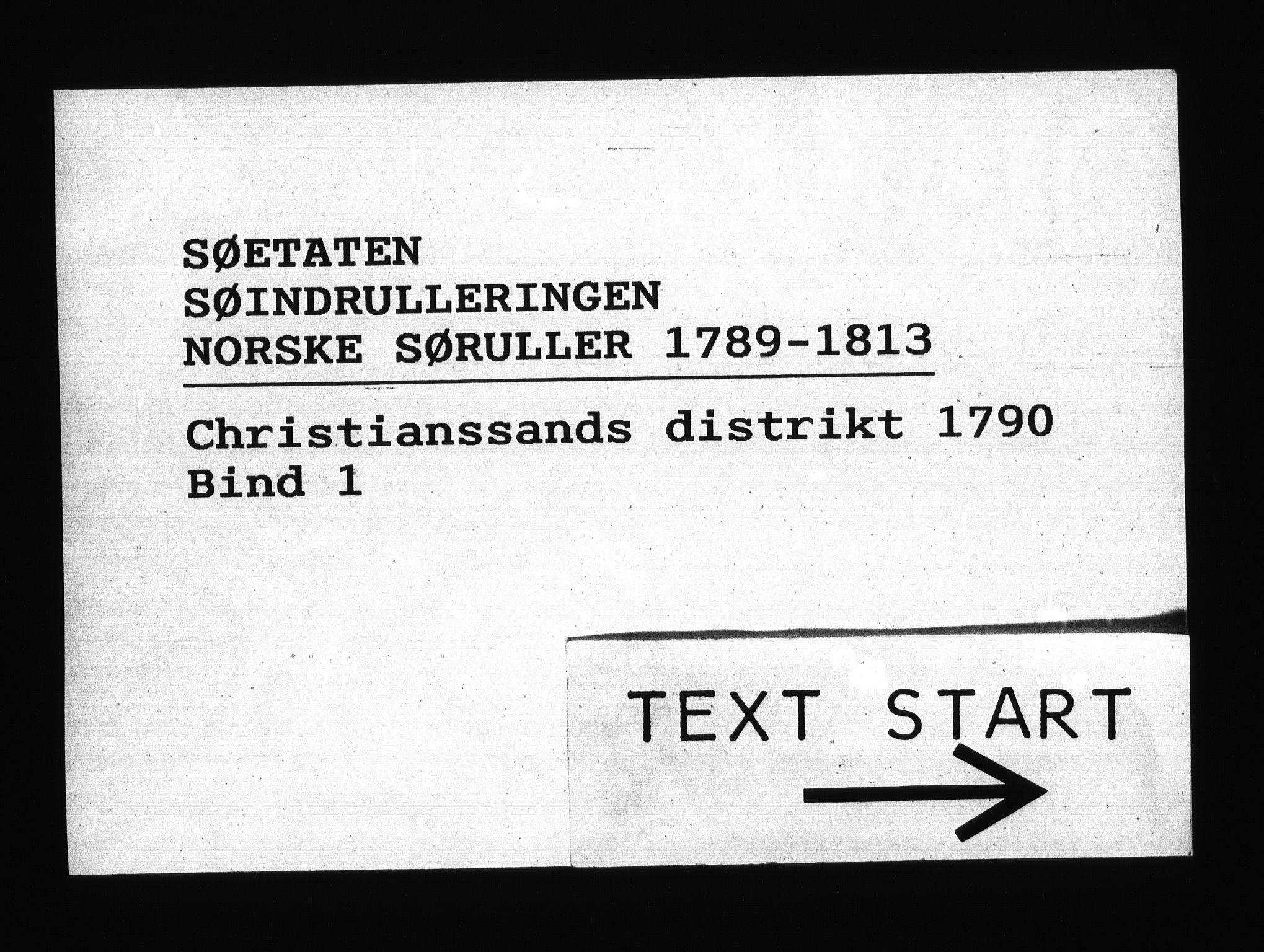 RA, Sjøetaten, F/L0014: Kristiansand distrikt, bind 1, 1790