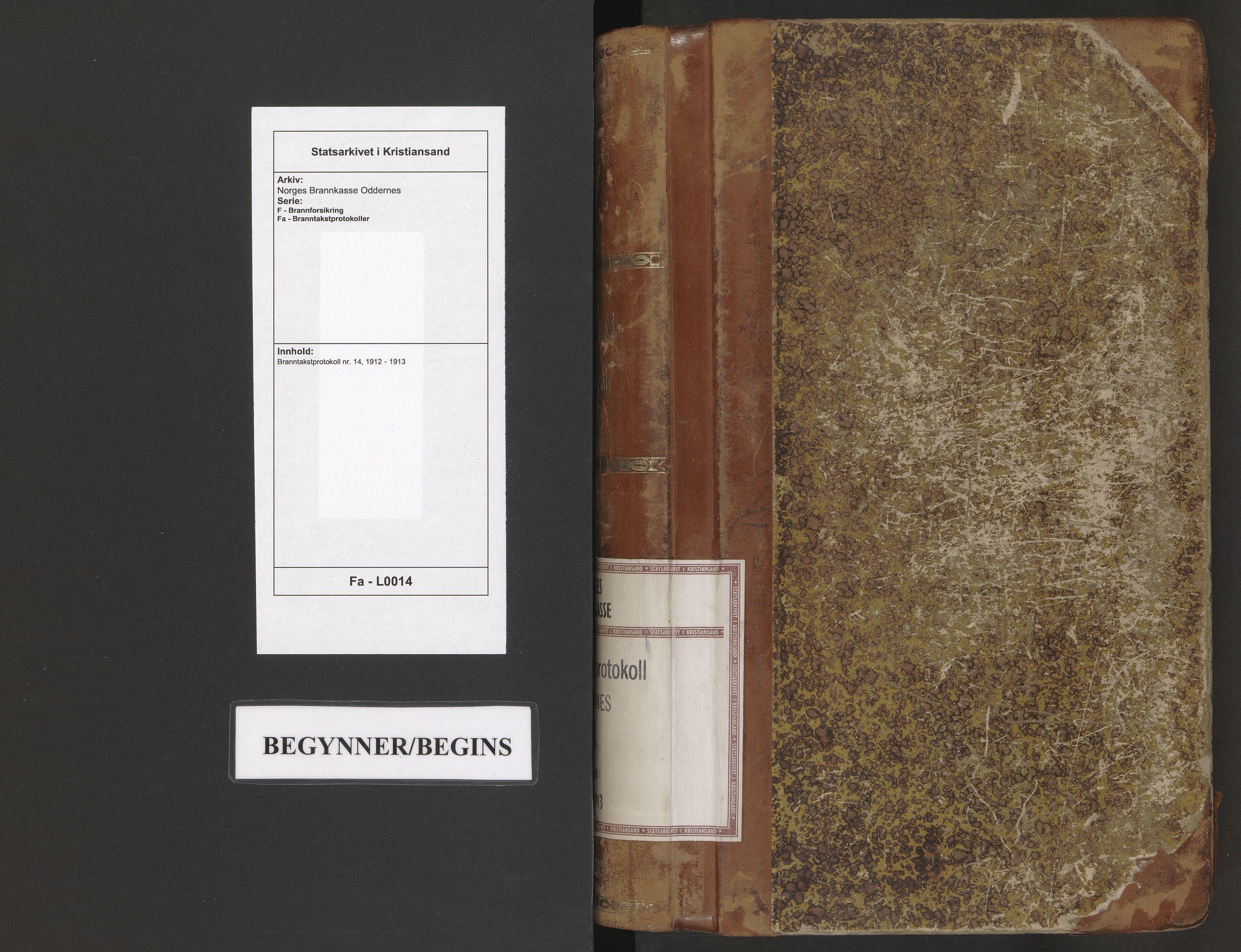 SAK, Norges Brannkasse Oddernes, F/Fa/L0014: Branntakstprotokoll nr. 14, 1912-1913