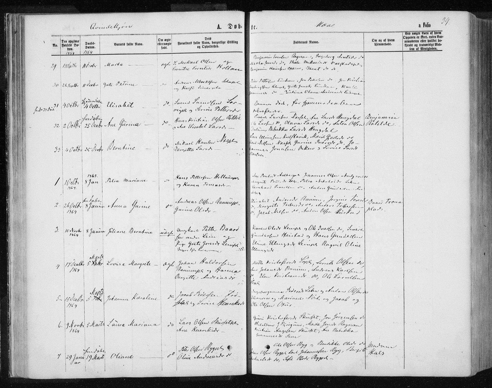 SAT, Ministerialprotokoller, klokkerbøker og fødselsregistre - Nord-Trøndelag, 735/L0345: Ministerialbok nr. 735A08 /1, 1863-1872, s. 39