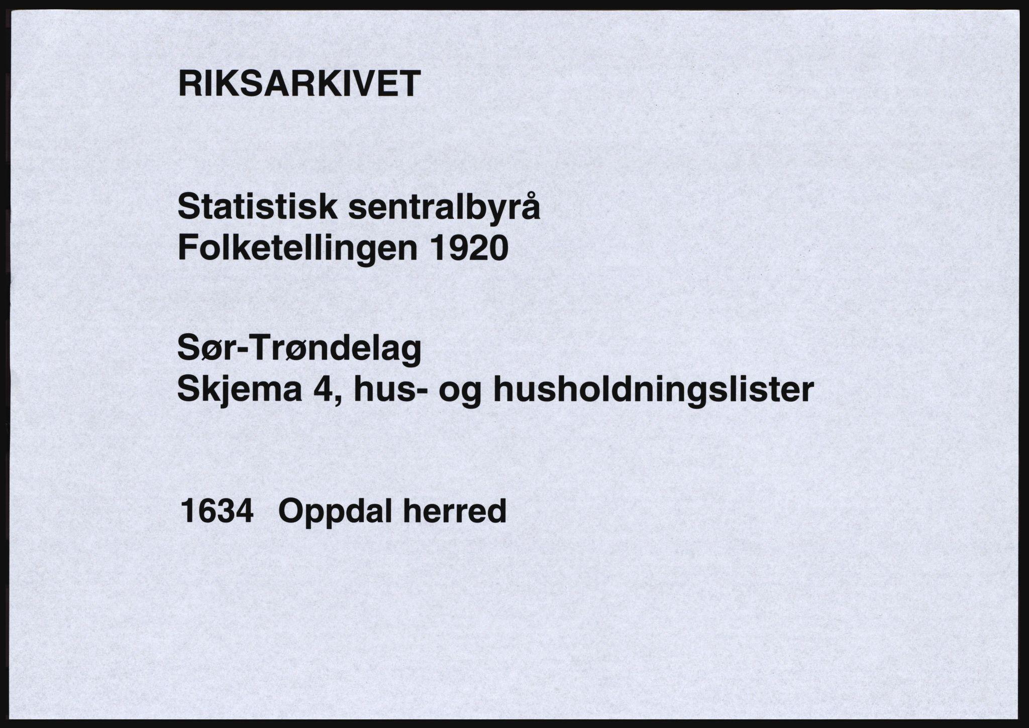 SAT, Folketelling 1920 for 1634 Oppdal herred, 1920, s. 43