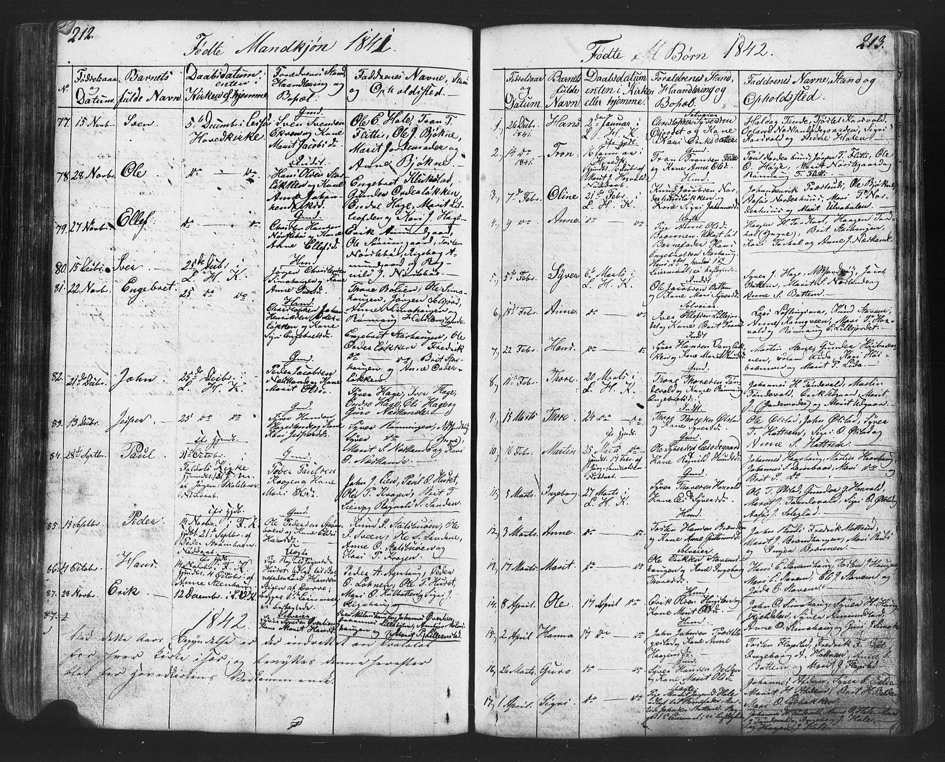 SAH, Lesja prestekontor, Klokkerbok nr. 2, 1832-1850, s. 212-213