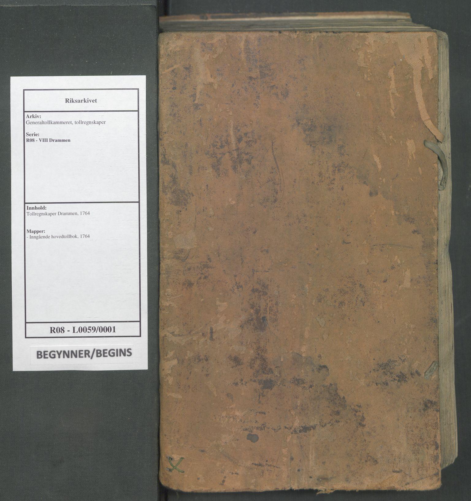 RA, Generaltollkammeret, tollregnskaper, R08/L0059: Tollregnskaper Drammen, 1764