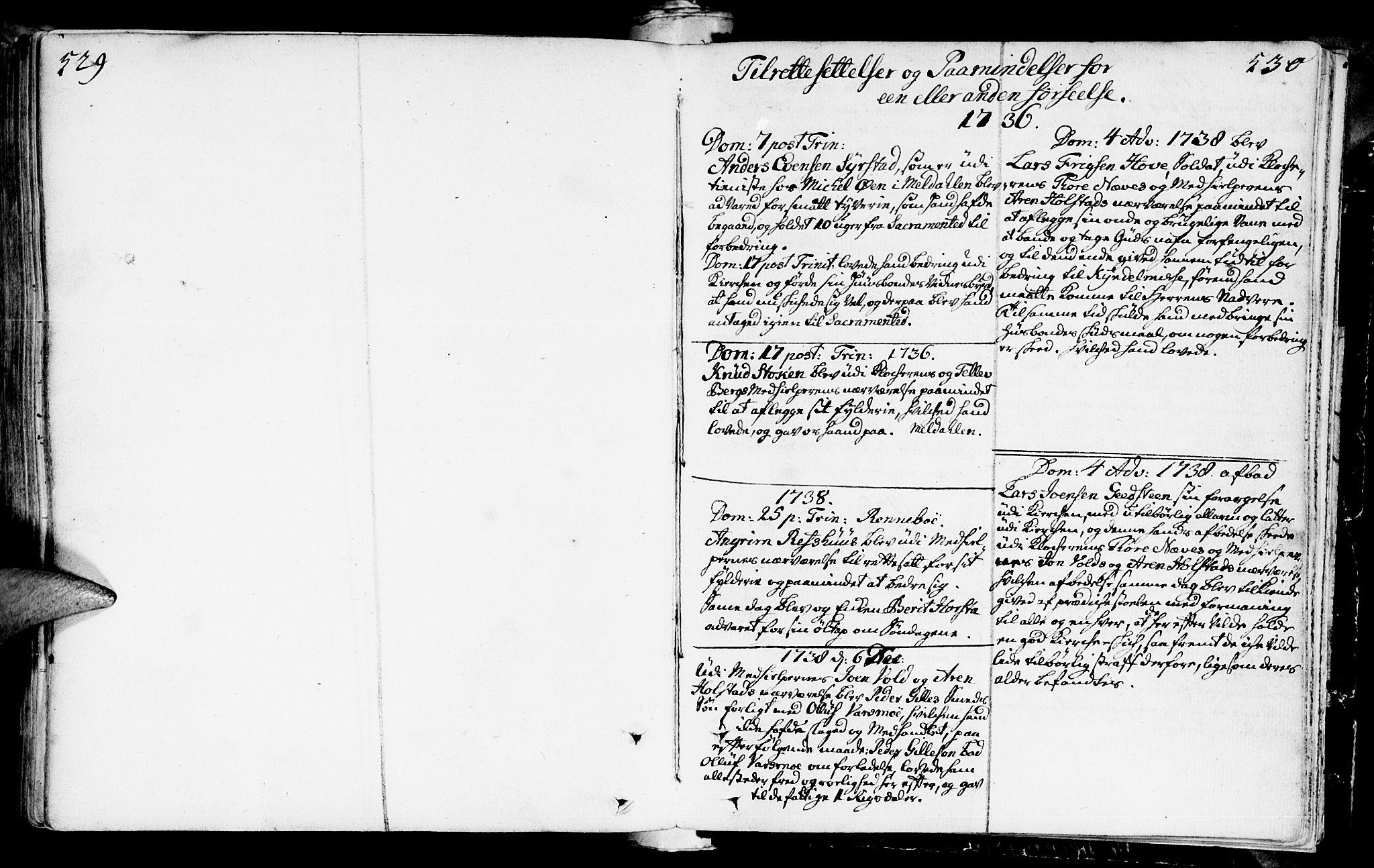 SAT, Ministerialprotokoller, klokkerbøker og fødselsregistre - Sør-Trøndelag, 672/L0850: Ministerialbok nr. 672A03, 1725-1751, s. 529-530