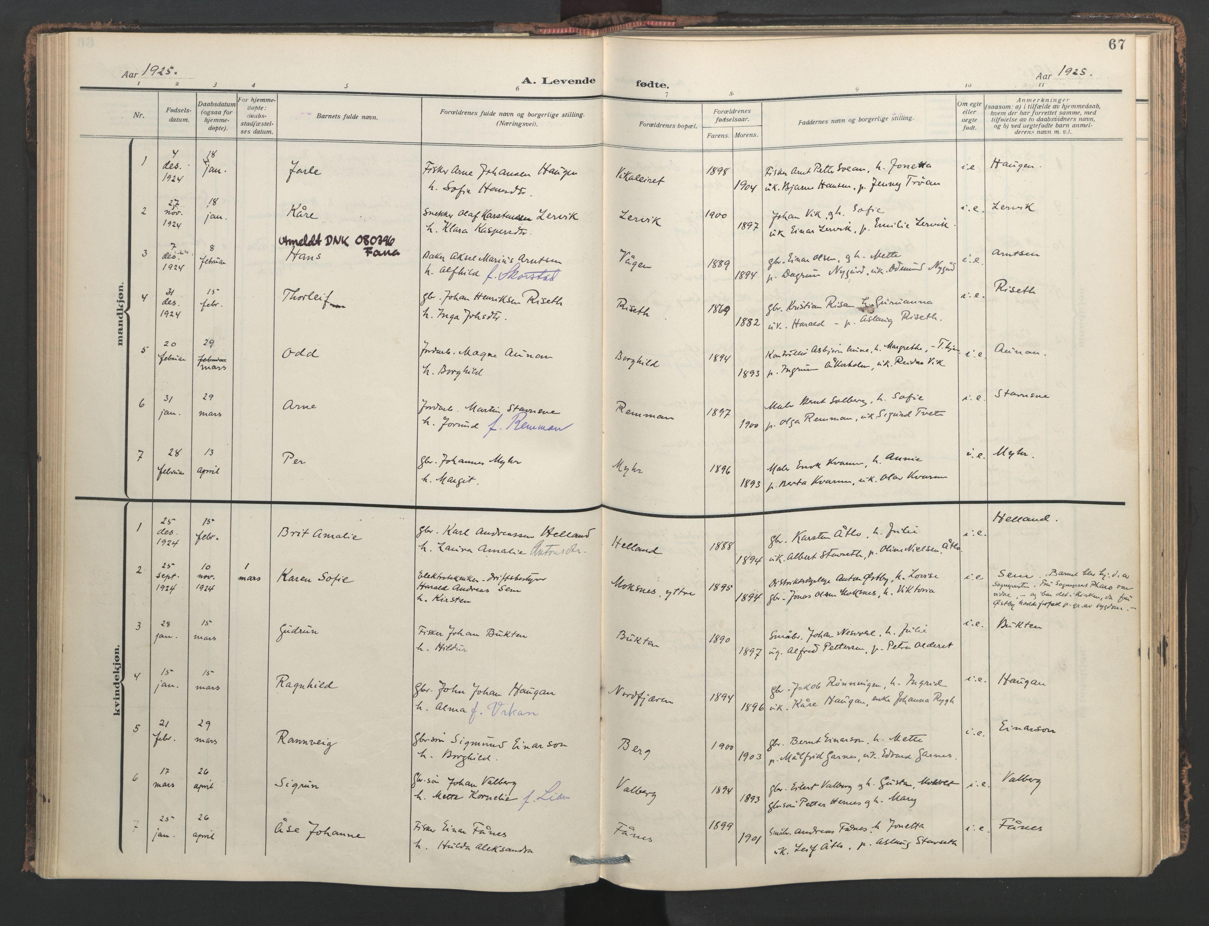SAT, Ministerialprotokoller, klokkerbøker og fødselsregistre - Nord-Trøndelag, 713/L0123: Ministerialbok nr. 713A12, 1911-1925, s. 67