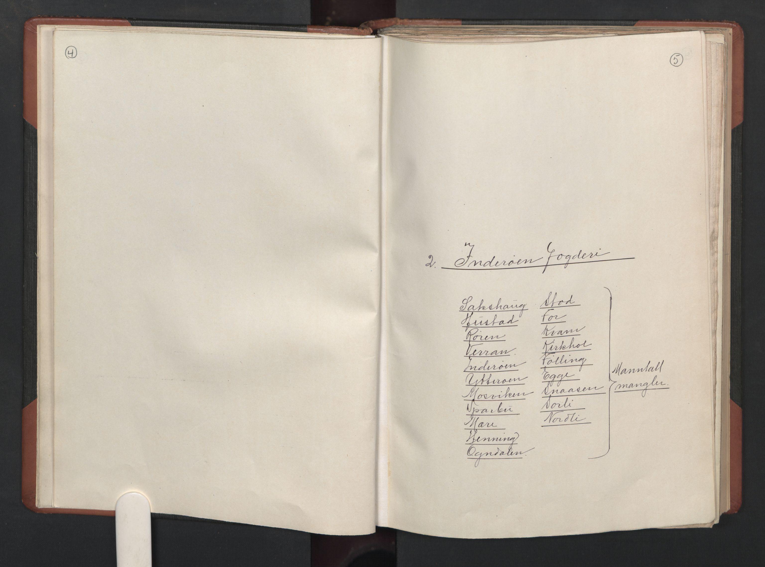 RA, Fogdenes og sorenskrivernes manntall 1664-1666, nr. 19: Fosen fogderi, Inderøy fogderi, Selbu fogderi, Namdal fogderi og Stjørdal fogderi, 1664-1665, s. 4-5