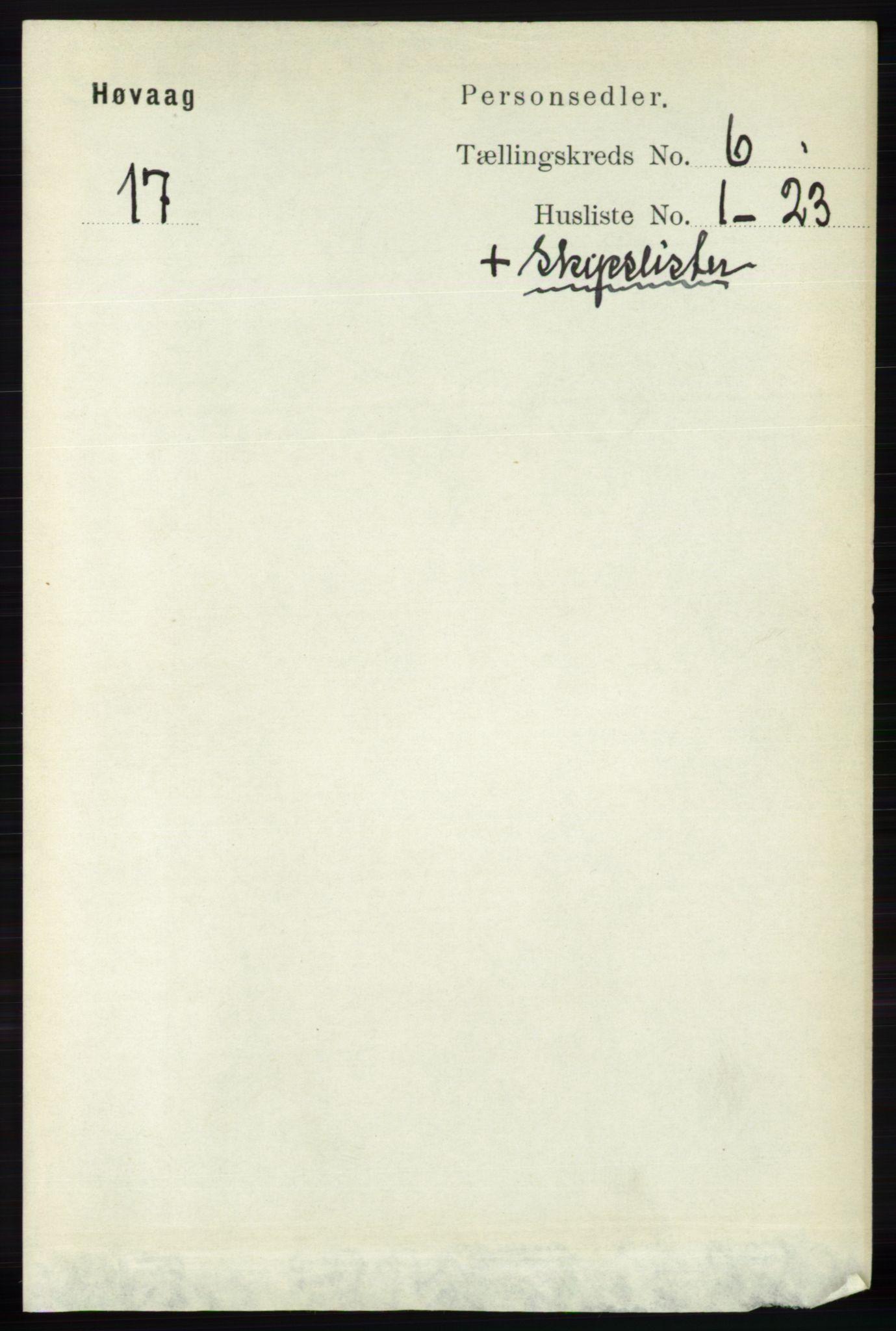 RA, Folketelling 1891 for 0927 Høvåg herred, 1891, s. 2215