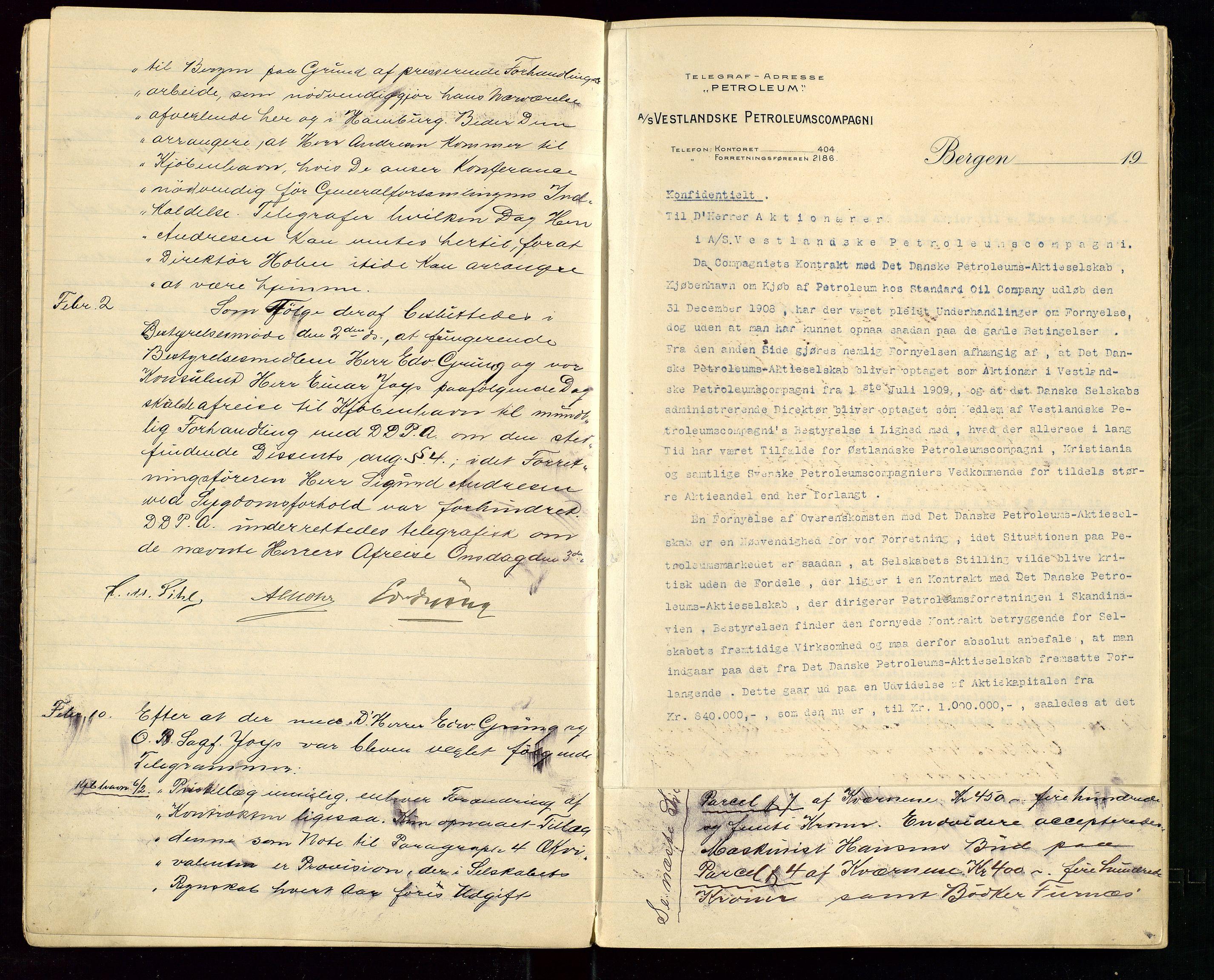 SAST, PA 1533 - A/S Vestlandske Petroleumscompani, A/Aa/L0001: Generalforsamlinger og styreprotokoller, 1907-1915, s. 14
