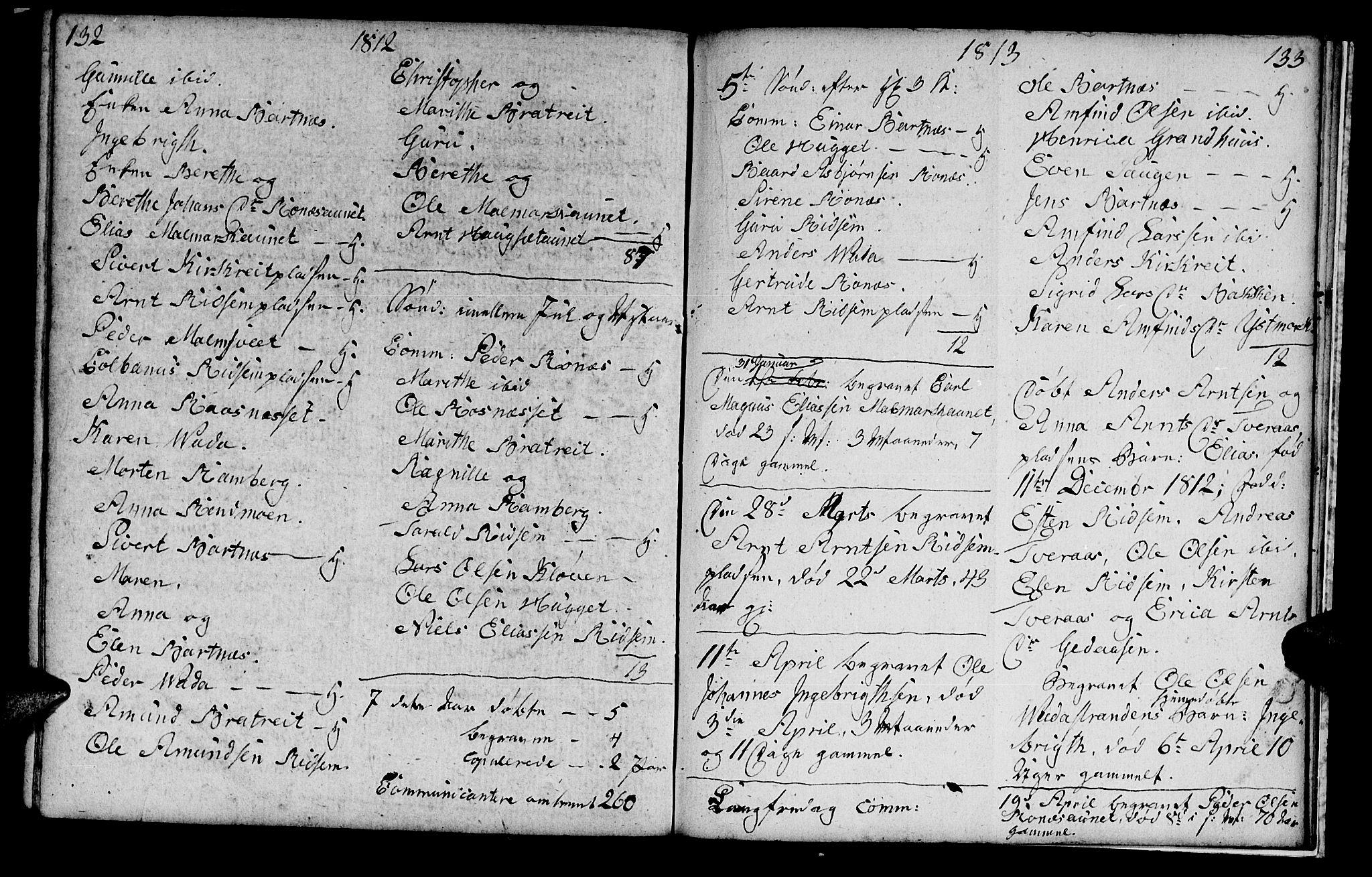 SAT, Ministerialprotokoller, klokkerbøker og fødselsregistre - Nord-Trøndelag, 745/L0432: Klokkerbok nr. 745C01, 1802-1814, s. 132-133