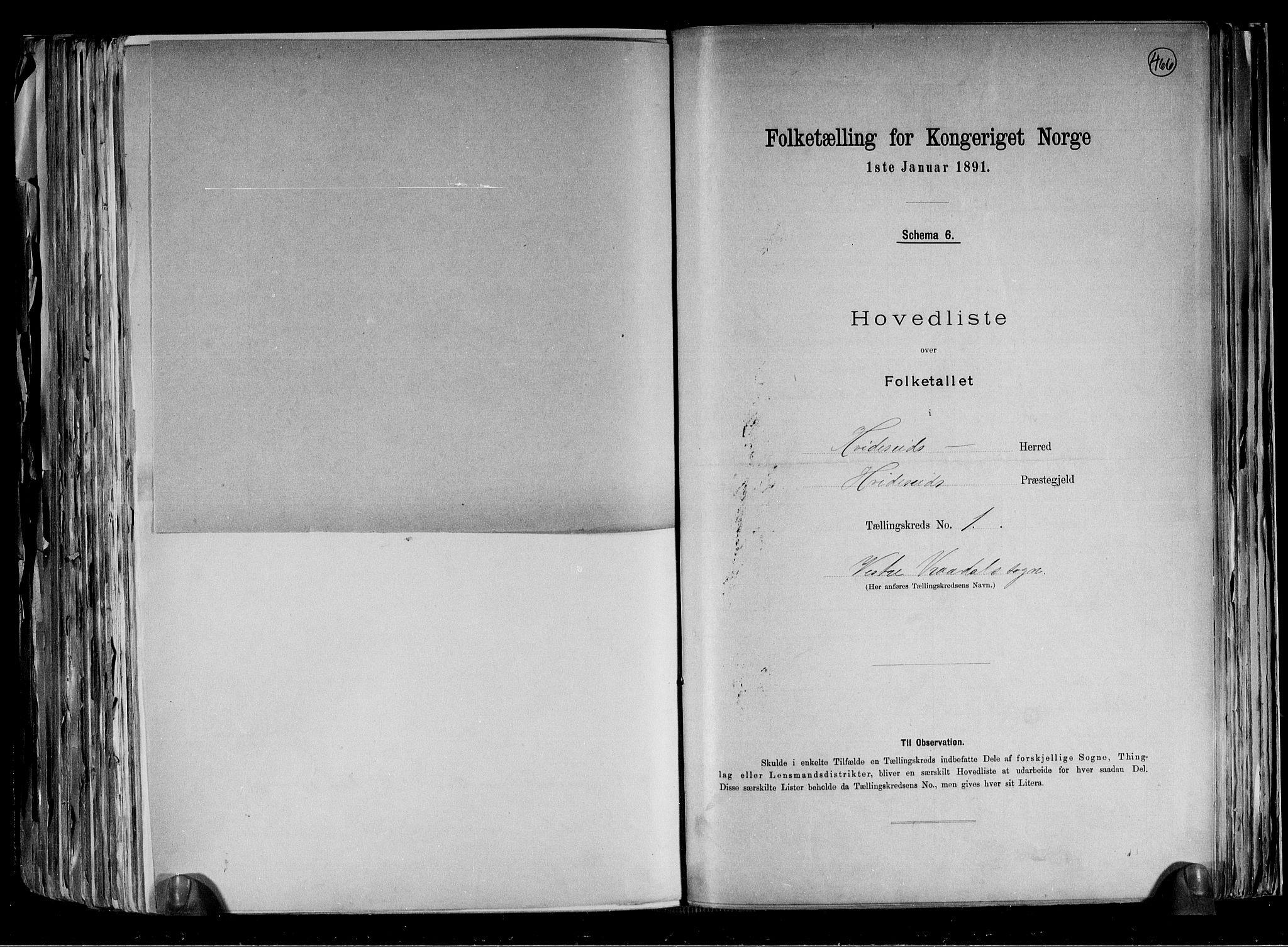 RA, Folketelling 1891 for 0829 Kviteseid herred, 1891, s. 5