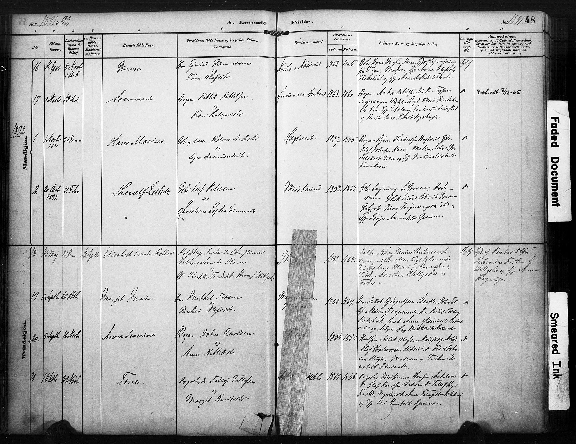 SAKO, Kviteseid kirkebøker, F/Fa/L0008: Ministerialbok nr. I 8, 1882-1903, s. 48