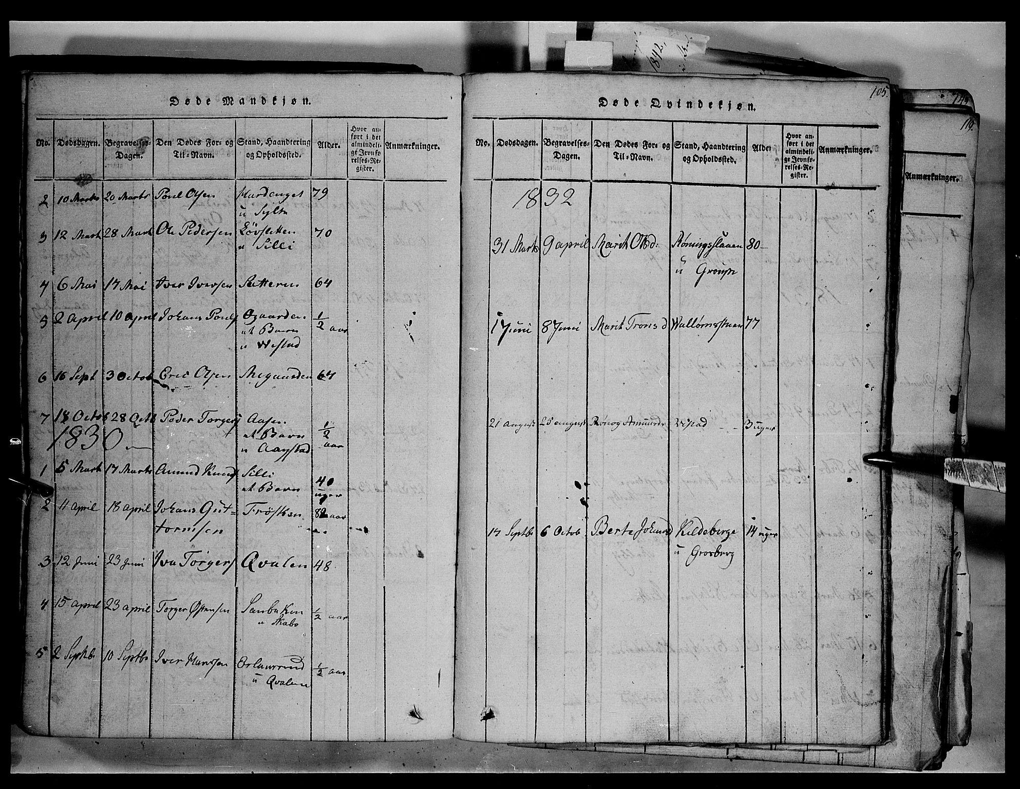 SAH, Fron prestekontor, H/Ha/Hab/L0003: Klokkerbok nr. 3, 1816-1850, s. 105