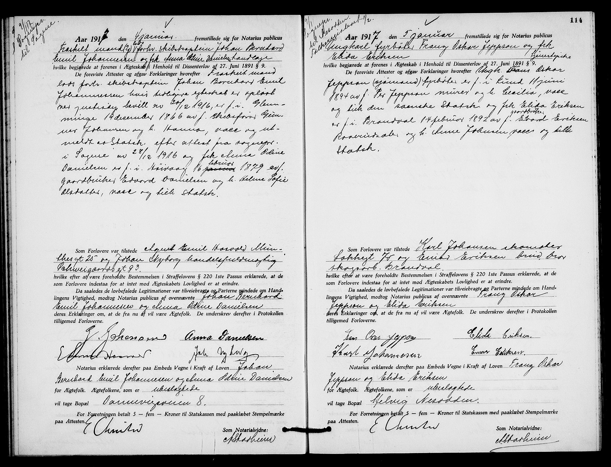 SAO, Oslo byfogd avd. I, L/Lb/Lbb/L0011: Notarialprotokoll, rekke II: Vigsler, 1916-1918, s. 113b-114a