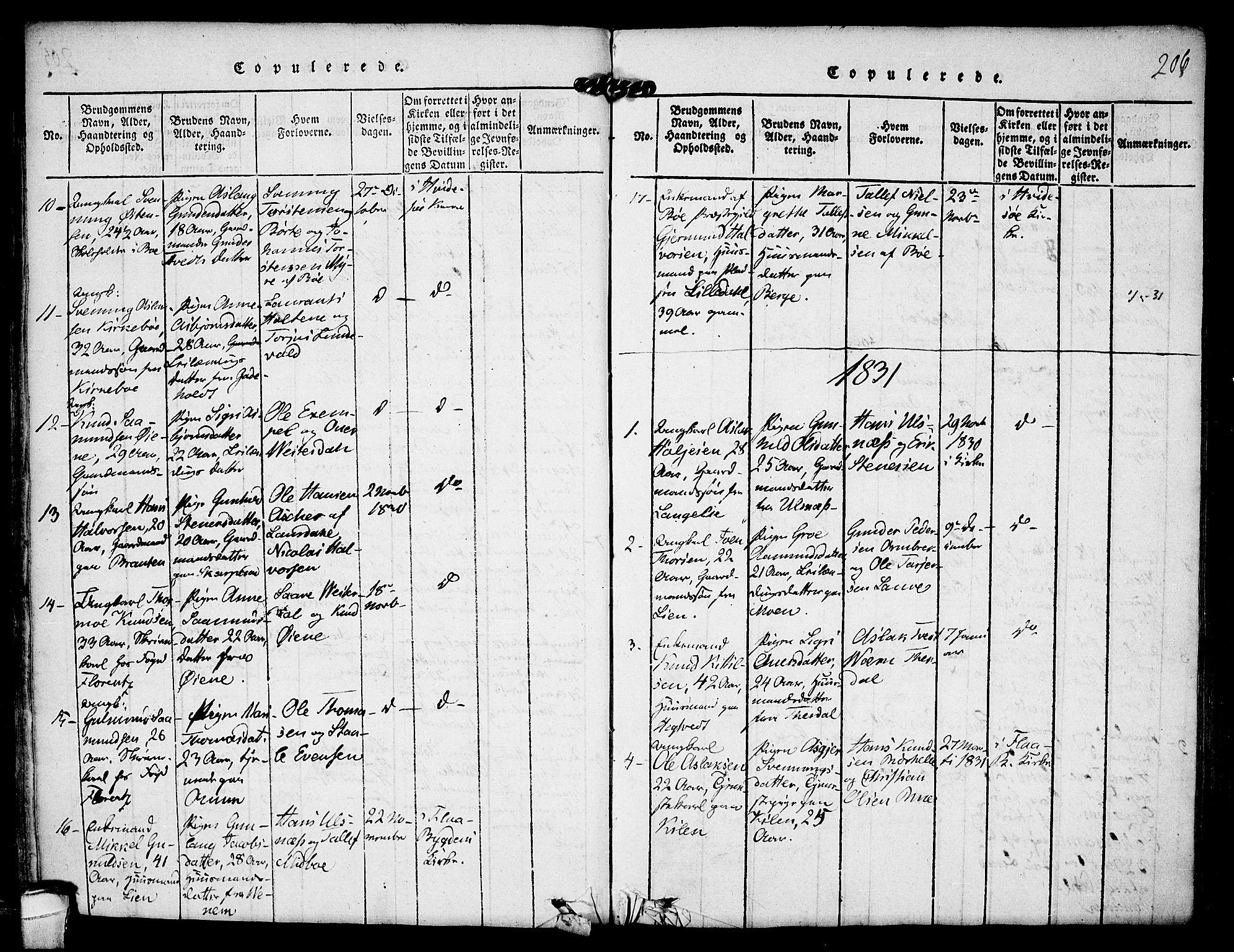 SAKO, Kviteseid kirkebøker, F/Fa/L0005: Ministerialbok nr. I 5, 1815-1836, s. 206