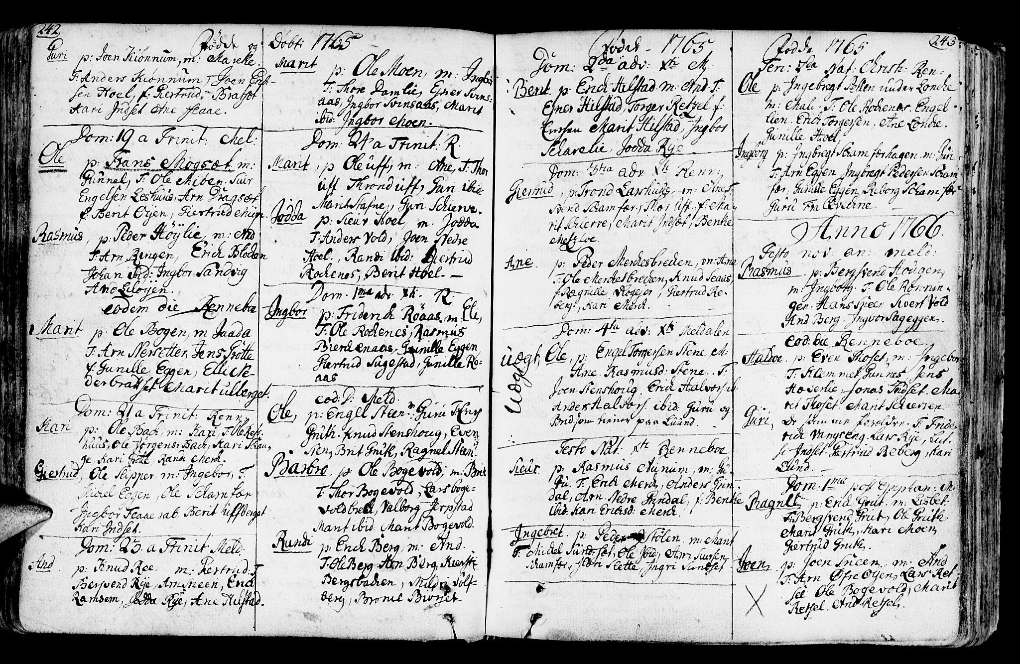 SAT, Ministerialprotokoller, klokkerbøker og fødselsregistre - Sør-Trøndelag, 672/L0851: Ministerialbok nr. 672A04, 1751-1775, s. 242-243