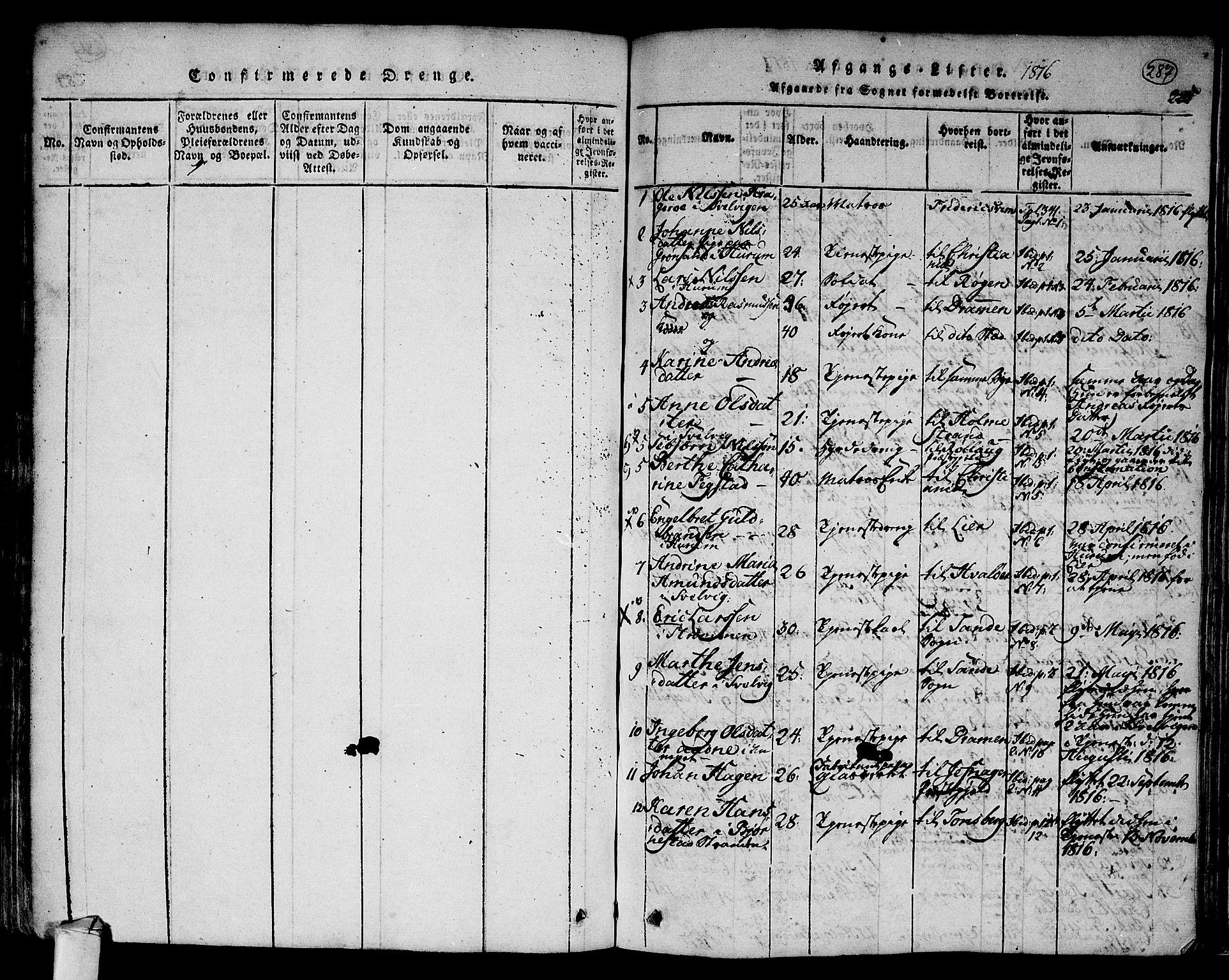 SAKO, Hurum kirkebøker, F/Fa/L0009: Ministerialbok nr. 9, 1816-1826, s. 287
