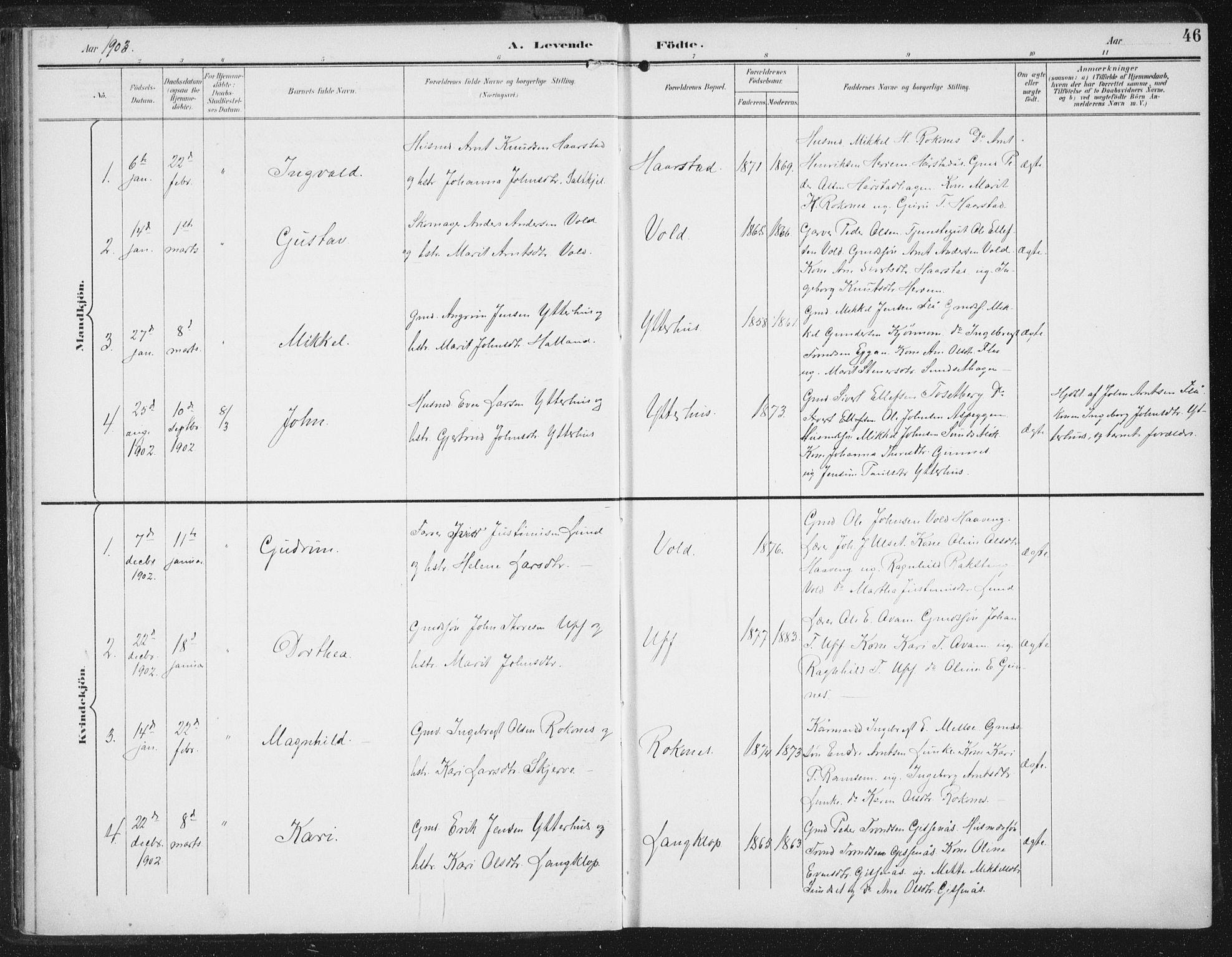 SAT, Ministerialprotokoller, klokkerbøker og fødselsregistre - Sør-Trøndelag, 674/L0872: Ministerialbok nr. 674A04, 1897-1907, s. 46