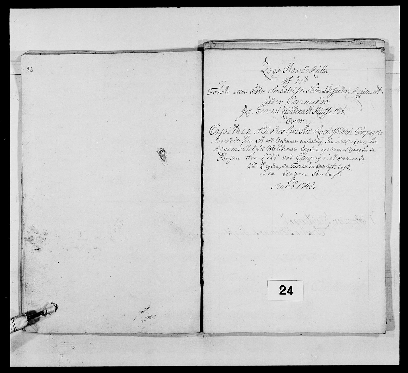 RA, Kommanderende general (KG I) med Det norske krigsdirektorium, E/Ea/L0495: 1. Smålenske regiment, 1732-1763, s. 348