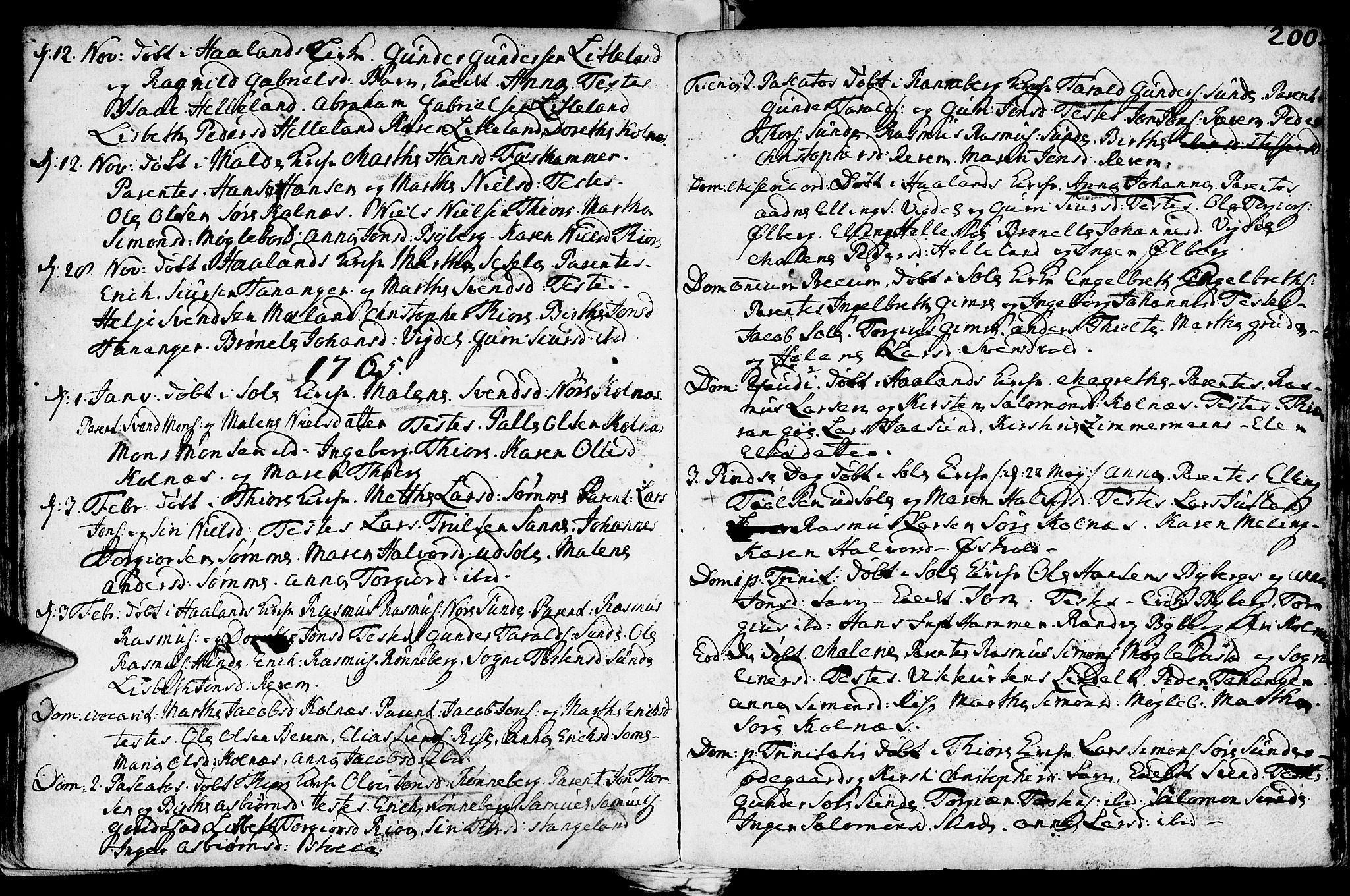 SAST, Håland sokneprestkontor, 30BA/L0002: Ministerialbok nr. A 2, 1722-1794, s. 200