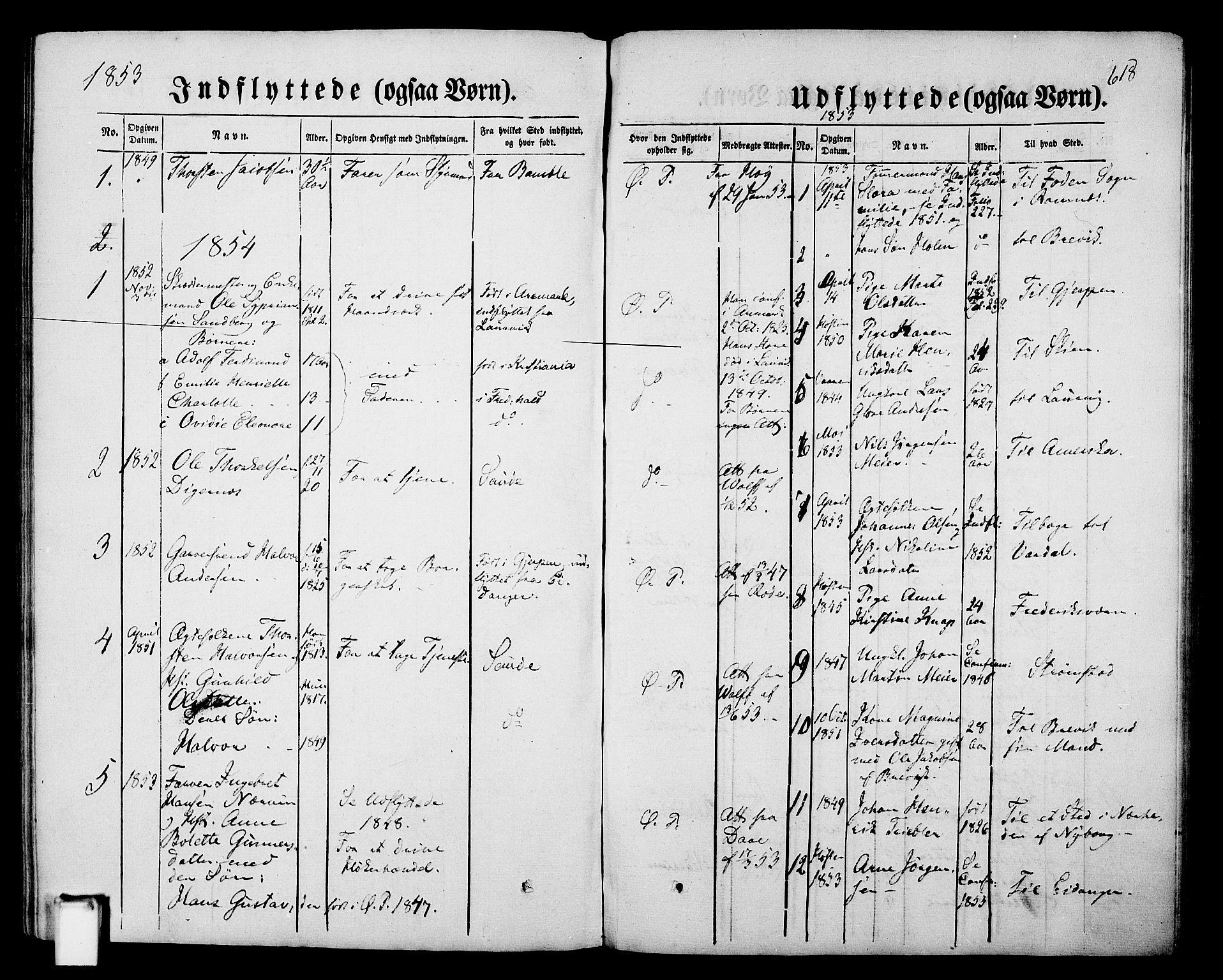 SAKO, Porsgrunn kirkebøker , G/Gb/L0004: Klokkerbok nr. II 4, 1853-1882, s. 618