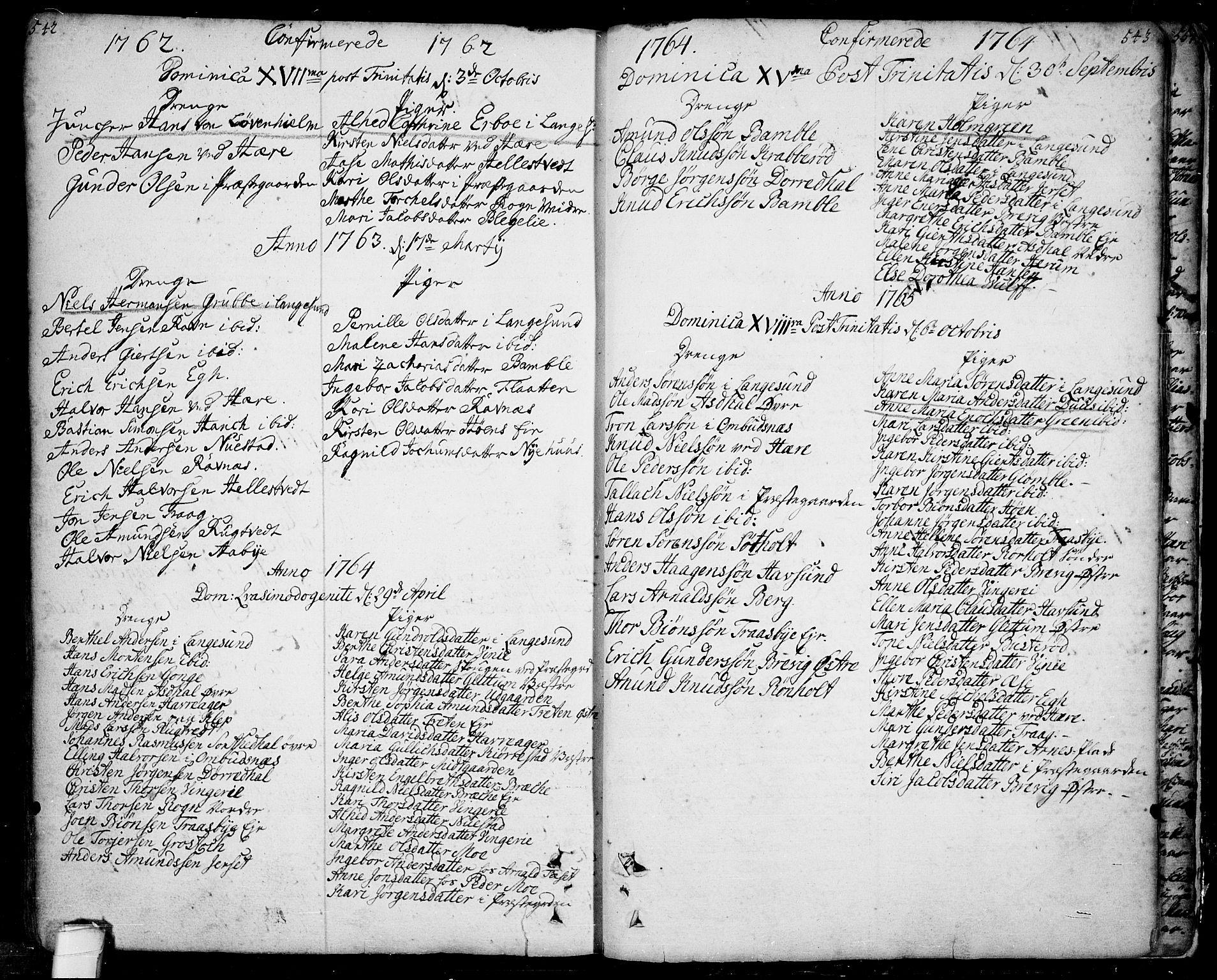 SAKO, Bamble kirkebøker, F/Fa/L0001: Ministerialbok nr. I 1, 1702-1774, s. 542-543
