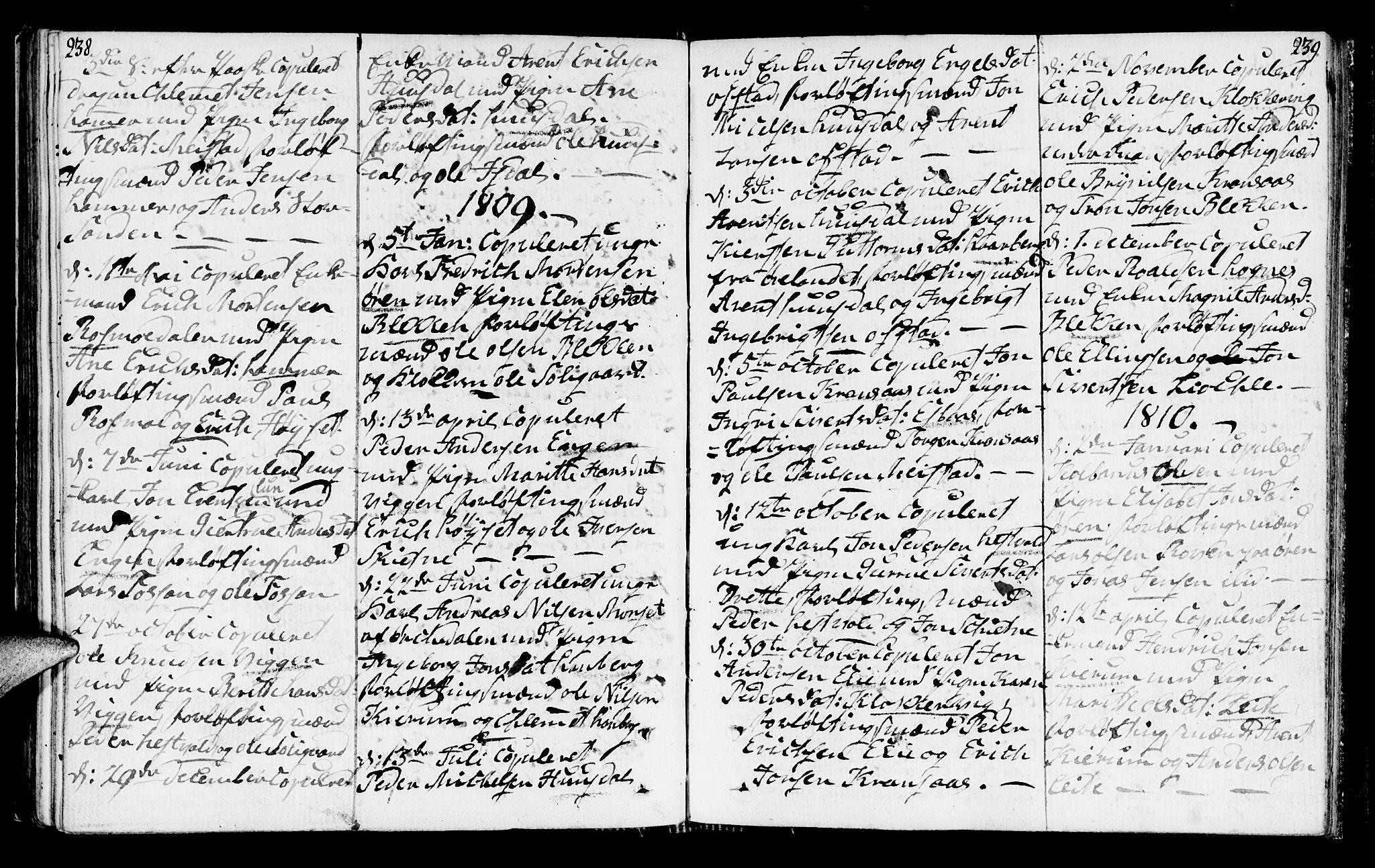 SAT, Ministerialprotokoller, klokkerbøker og fødselsregistre - Sør-Trøndelag, 665/L0769: Ministerialbok nr. 665A04, 1803-1816, s. 238-239