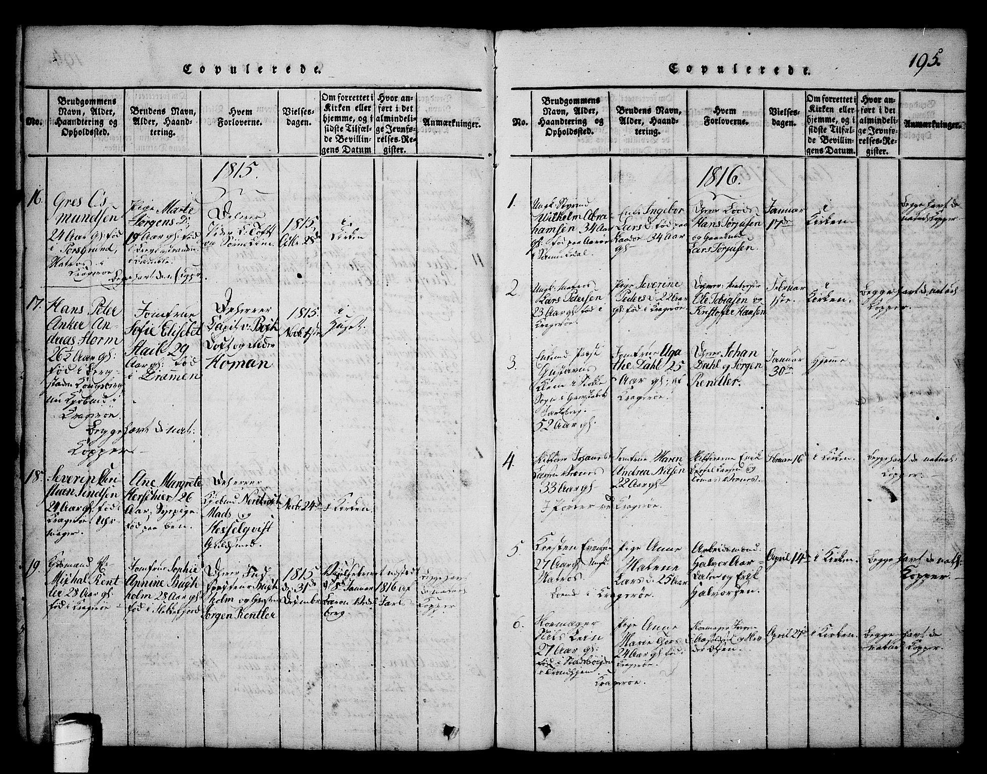 SAKO, Kragerø kirkebøker, G/Ga/L0002: Klokkerbok nr. 2, 1814-1831, s. 195