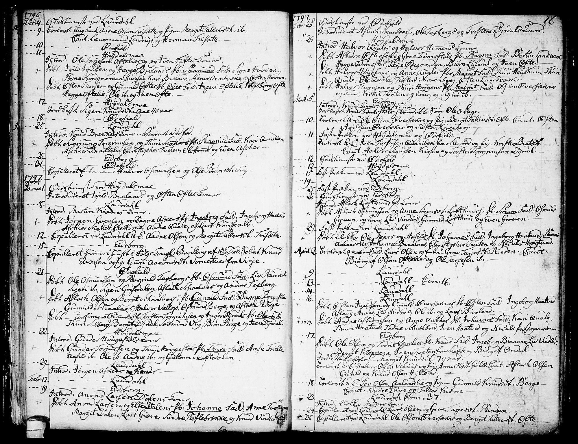 SAKO, Lårdal kirkebøker, F/Fa/L0004: Ministerialbok nr. I 4, 1790-1814, s. 16