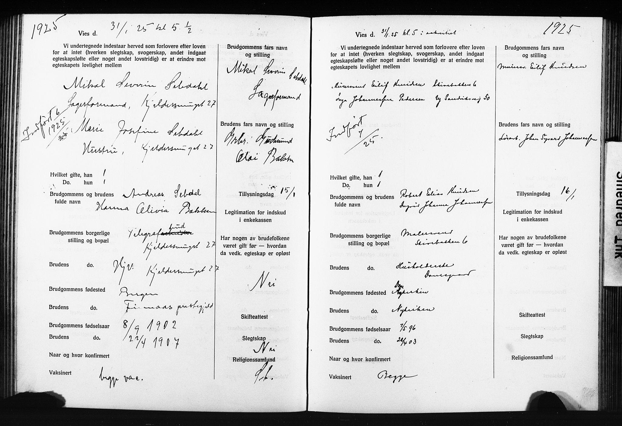 SAB, Domkirken Sokneprestembete, Forlovererklæringer nr. II.5.14, 1922-1927, s. 178