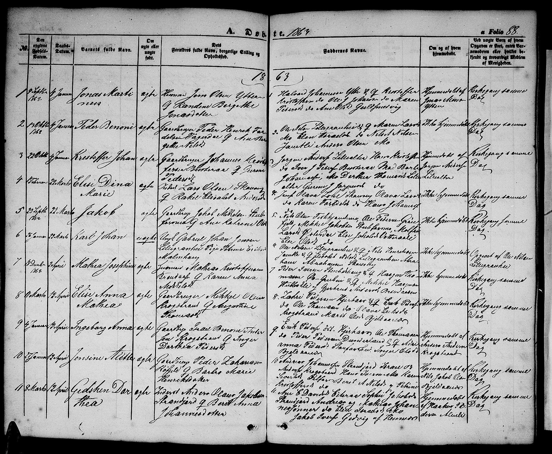 SAT, Ministerialprotokoller, klokkerbøker og fødselsregistre - Nordland, 827/L0414: Klokkerbok nr. 827C03, 1853-1865, s. 88