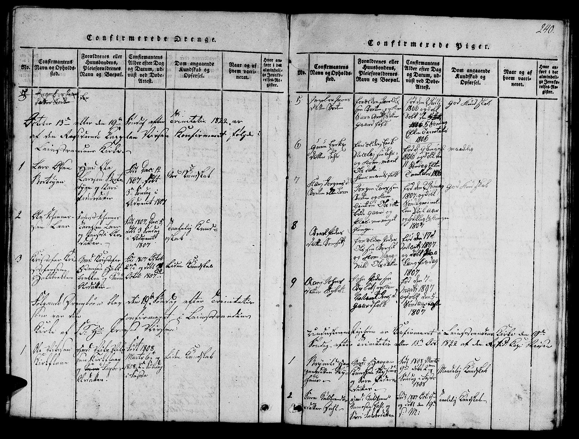 SAT, Ministerialprotokoller, klokkerbøker og fødselsregistre - Sør-Trøndelag, 693/L1121: Klokkerbok nr. 693C02, 1816-1869, s. 240