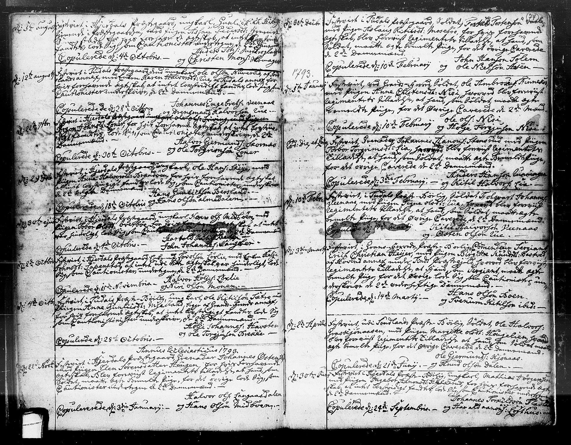 SAKO, Hjartdal kirkebøker, F/Fa/L0004: Ministerialbok nr. I 4, 1727-1795, s. 74