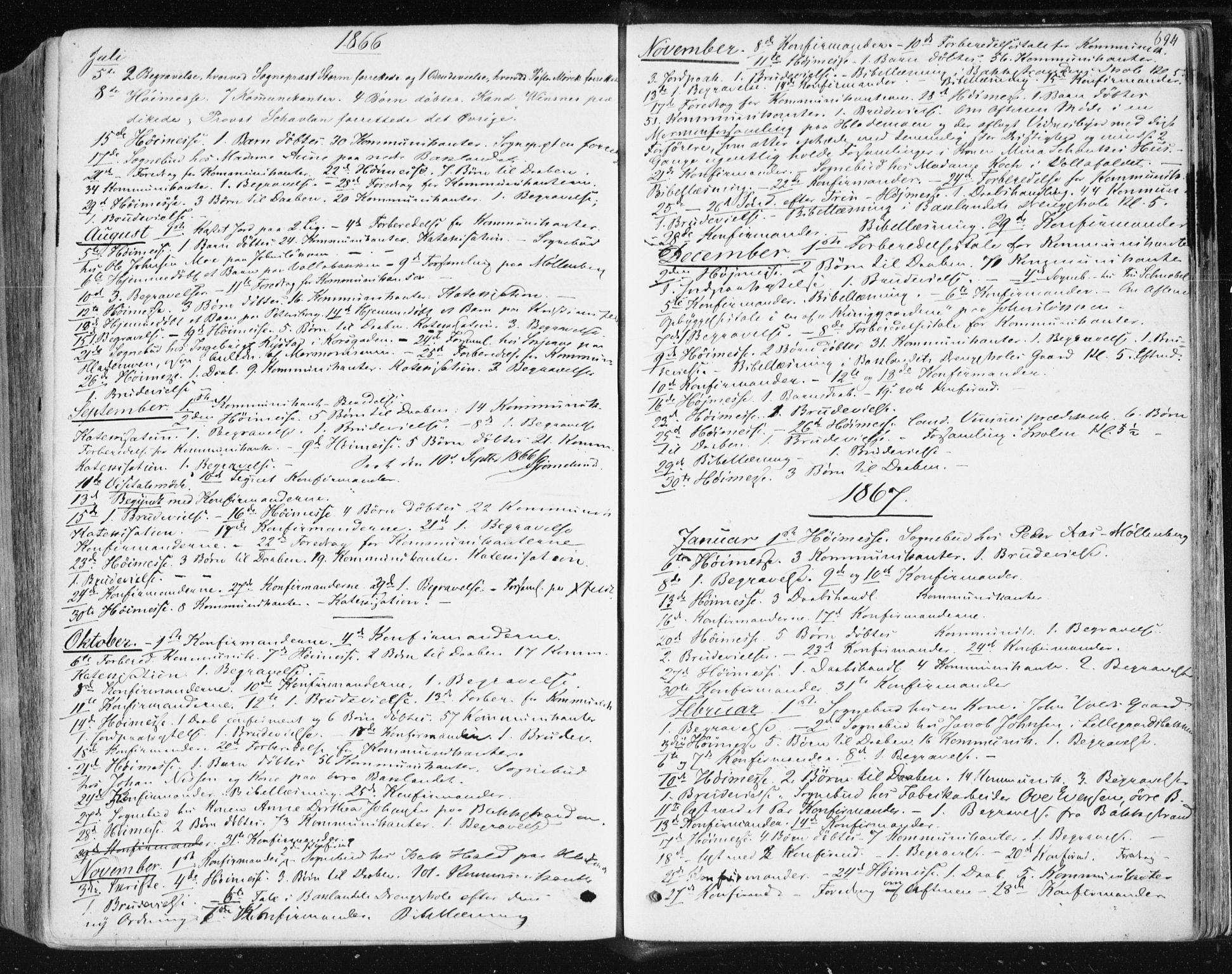 SAT, Ministerialprotokoller, klokkerbøker og fødselsregistre - Sør-Trøndelag, 604/L0186: Ministerialbok nr. 604A07, 1866-1877, s. 694