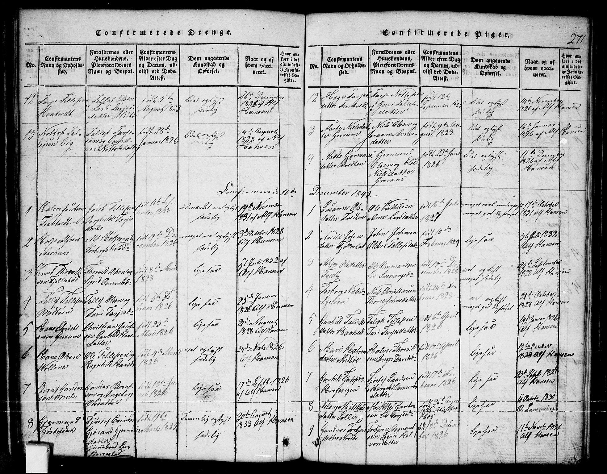 SAKO, Nissedal kirkebøker, G/Ga/L0001: Klokkerbok nr. I 1, 1814-1860, s. 271