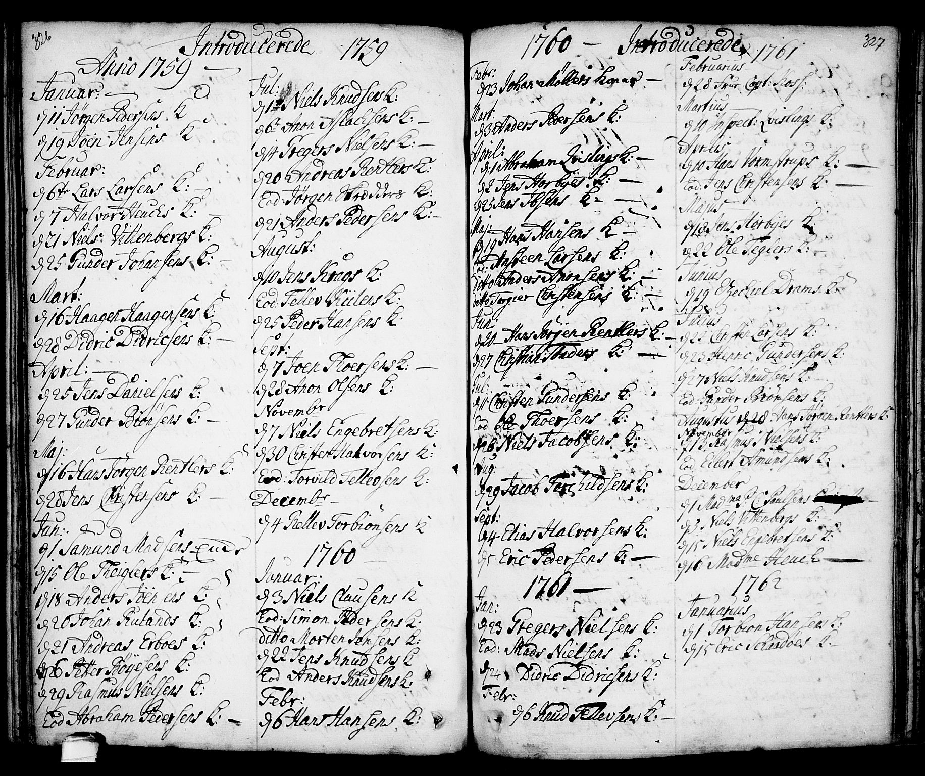 SAKO, Kragerø kirkebøker, F/Fa/L0001: Ministerialbok nr. 1, 1702-1766, s. 326-327