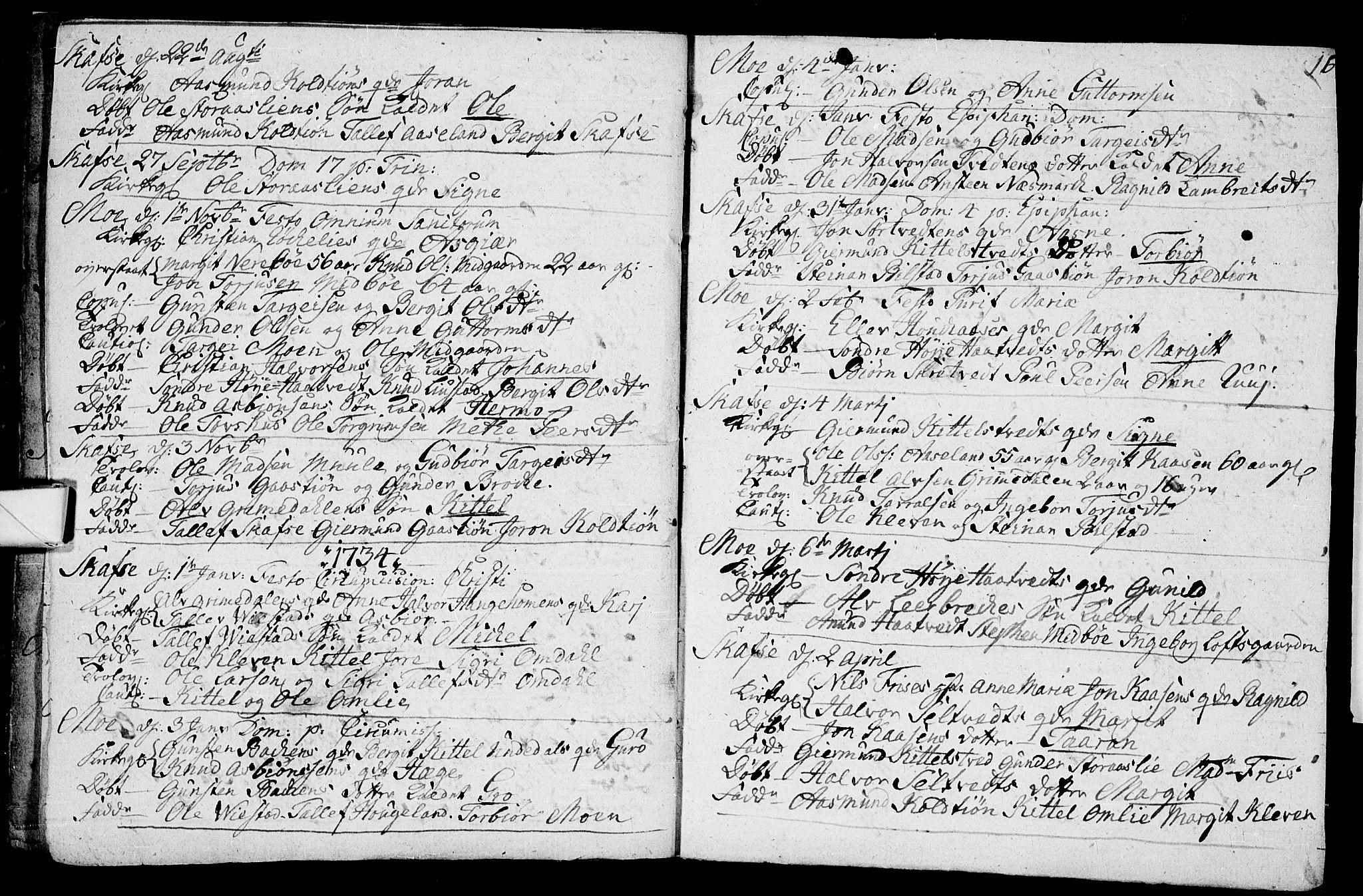 SAKO, Mo kirkebøker, F/Fa/L0001: Ministerialbok nr. I 1, 1724-1748, s. 16