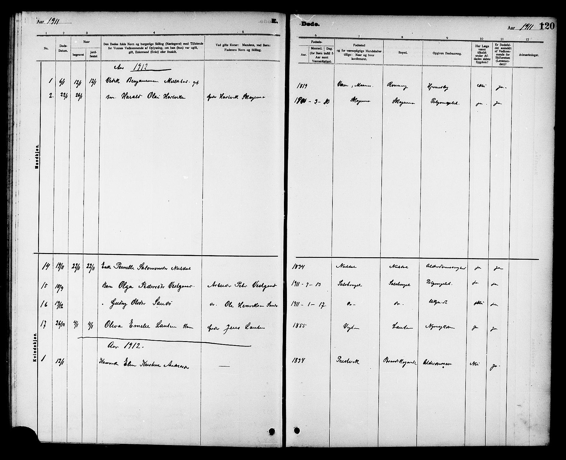 SAT, Ministerialprotokoller, klokkerbøker og fødselsregistre - Nord-Trøndelag, 780/L0652: Klokkerbok nr. 780C04, 1899-1911, s. 120