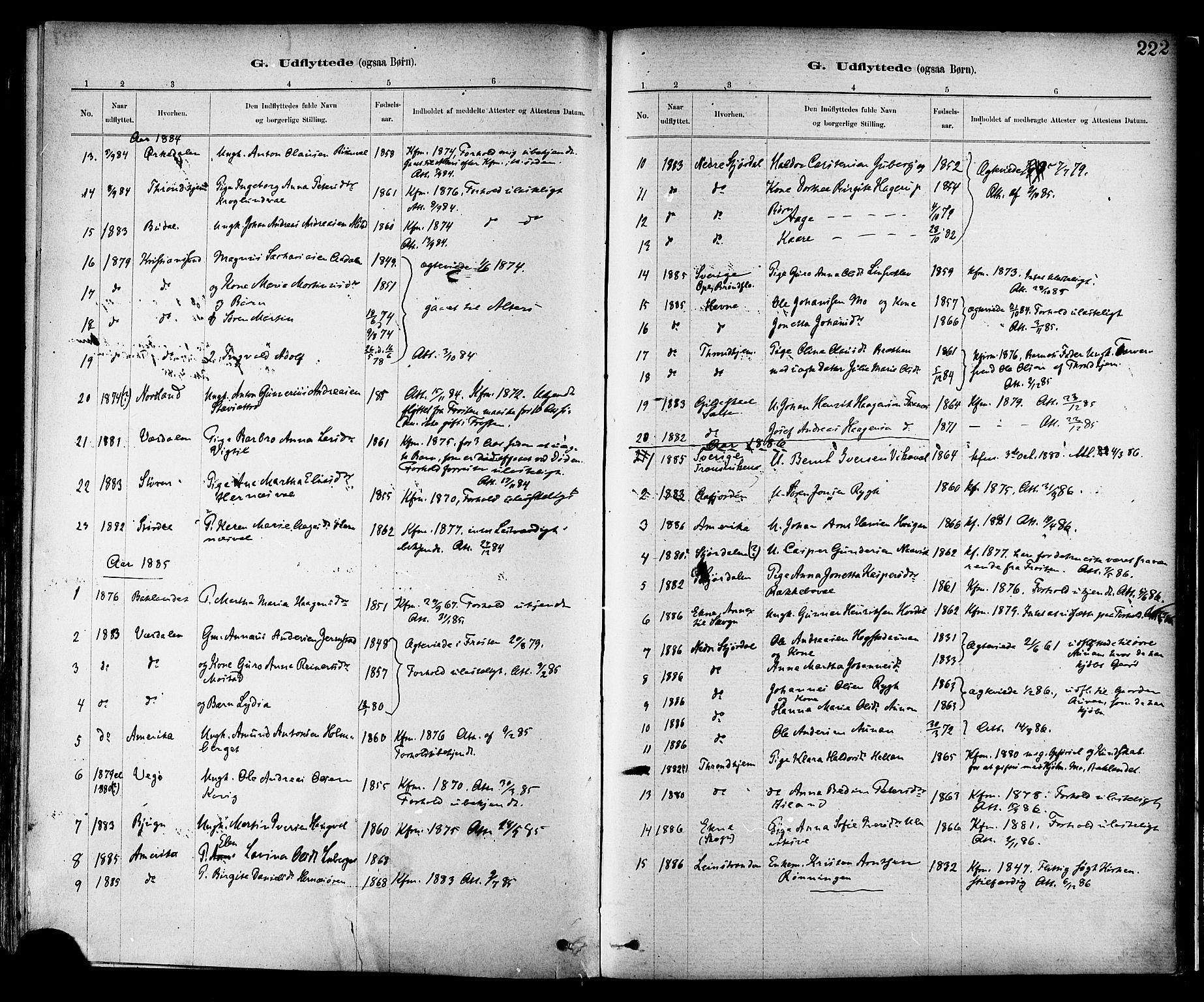 SAT, Ministerialprotokoller, klokkerbøker og fødselsregistre - Nord-Trøndelag, 713/L0120: Ministerialbok nr. 713A09, 1878-1887, s. 222