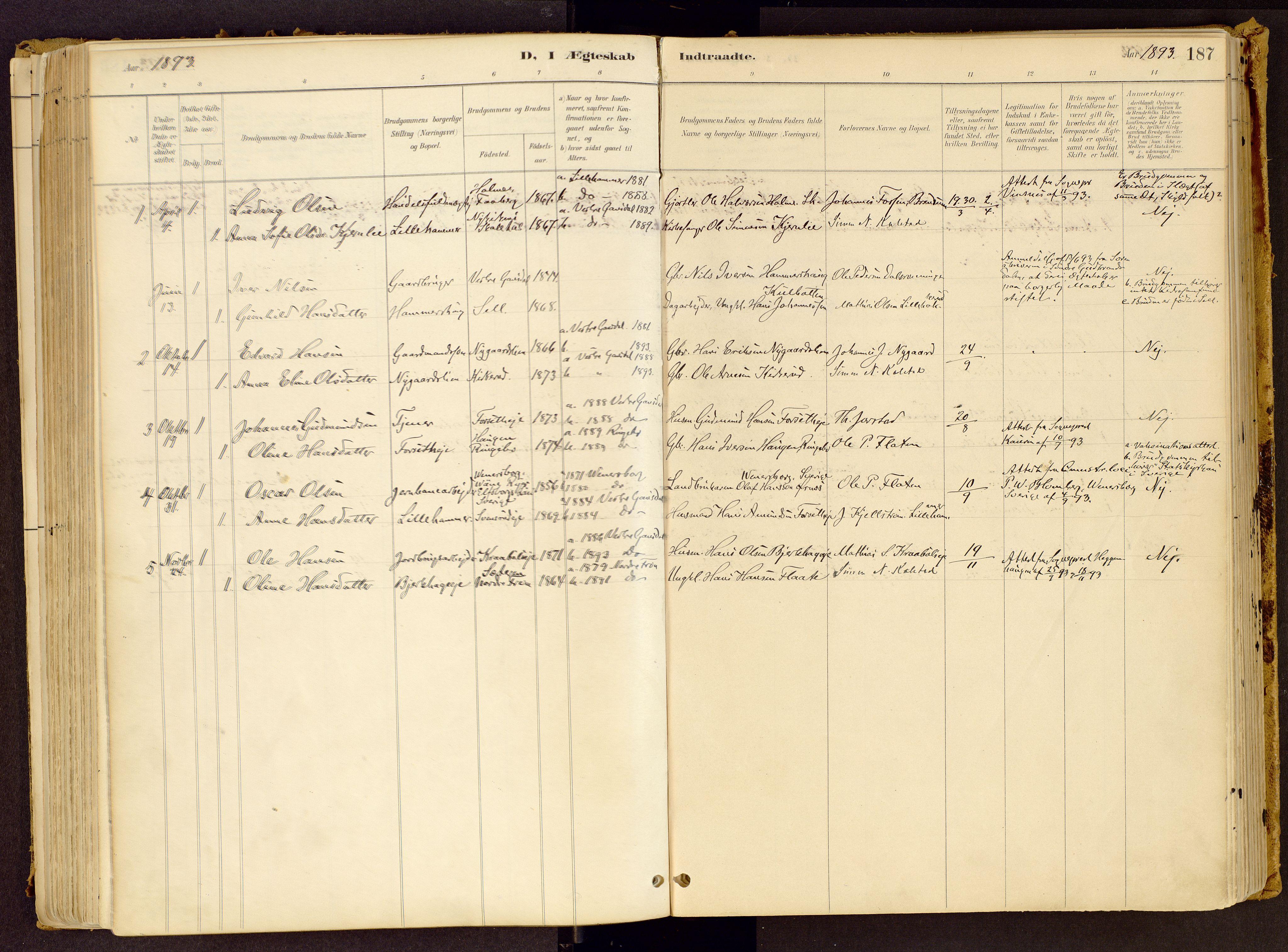 SAH, Vestre Gausdal prestekontor, Ministerialbok nr. 1, 1887-1914, s. 187