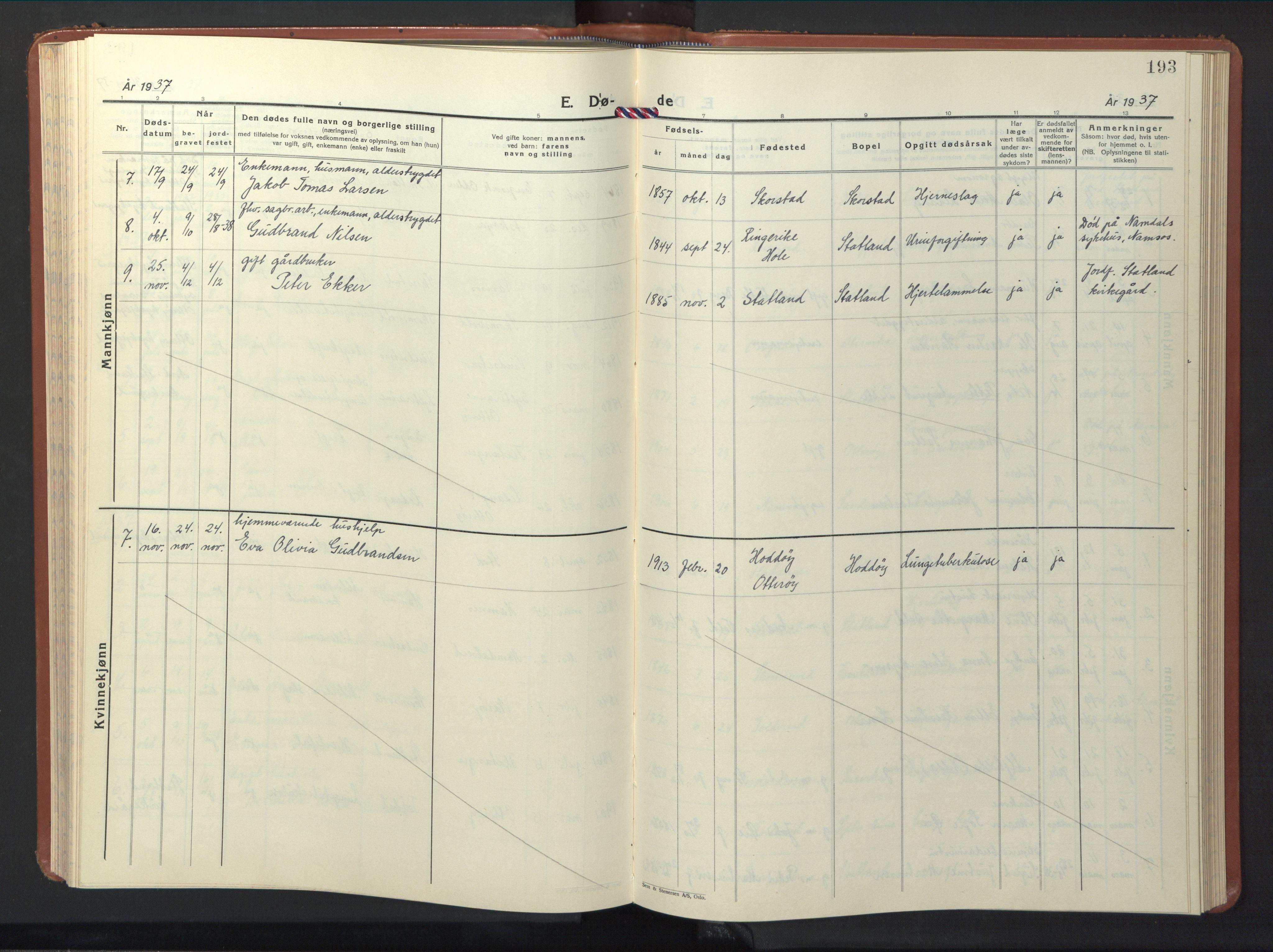 SAT, Ministerialprotokoller, klokkerbøker og fødselsregistre - Nord-Trøndelag, 774/L0631: Klokkerbok nr. 774C02, 1934-1950, s. 193
