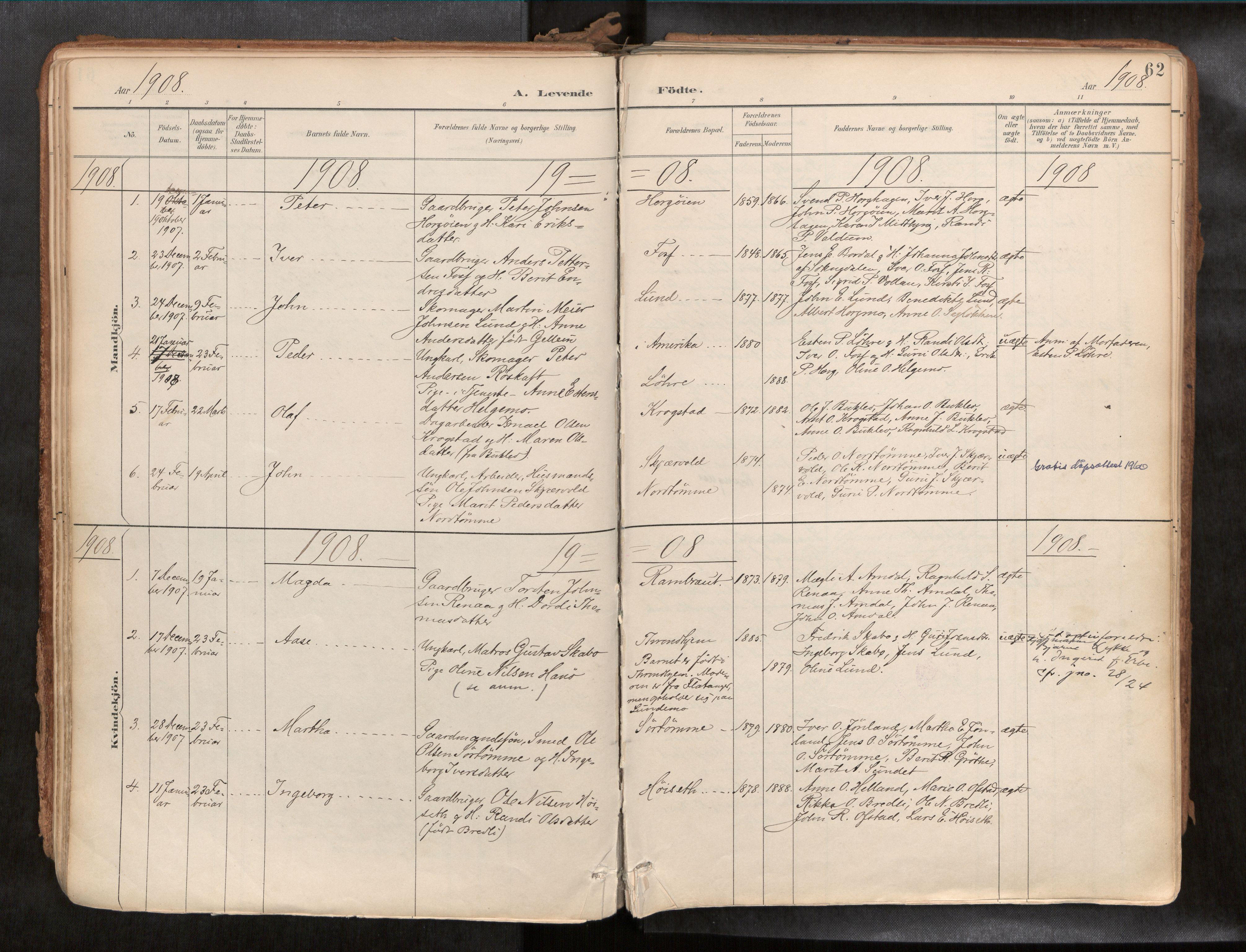 SAT, Ministerialprotokoller, klokkerbøker og fødselsregistre - Sør-Trøndelag, 692/L1105b: Ministerialbok nr. 692A06, 1891-1934, s. 62