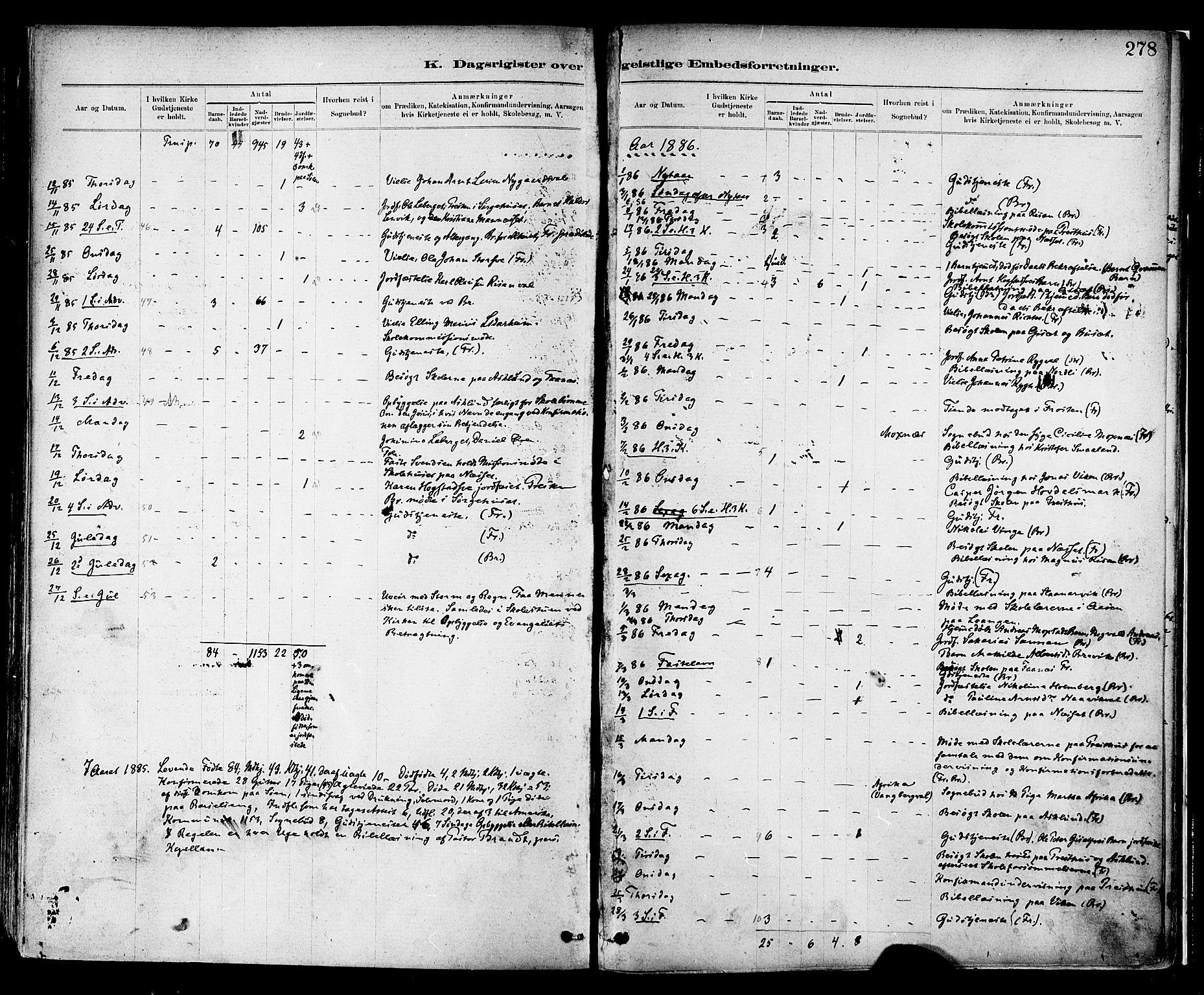SAT, Ministerialprotokoller, klokkerbøker og fødselsregistre - Nord-Trøndelag, 713/L0120: Ministerialbok nr. 713A09, 1878-1887, s. 278