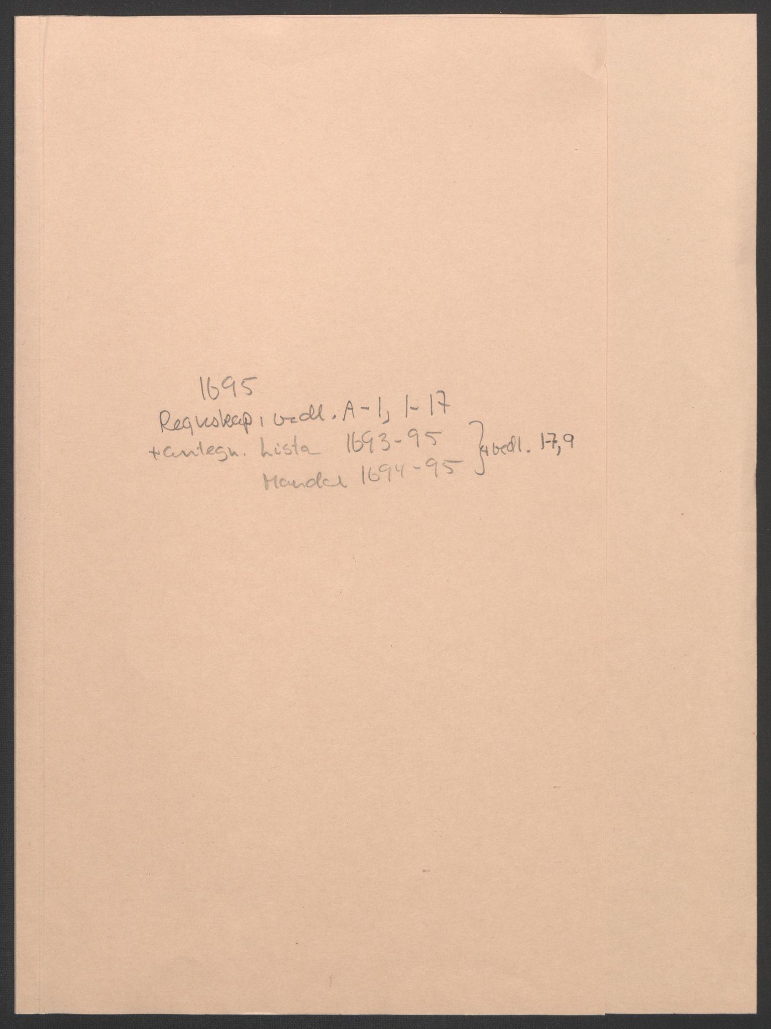 RA, Rentekammeret inntil 1814, Reviderte regnskaper, Fogderegnskap, R43/L2545: Fogderegnskap Lista og Mandal, 1694-1695, s. 197