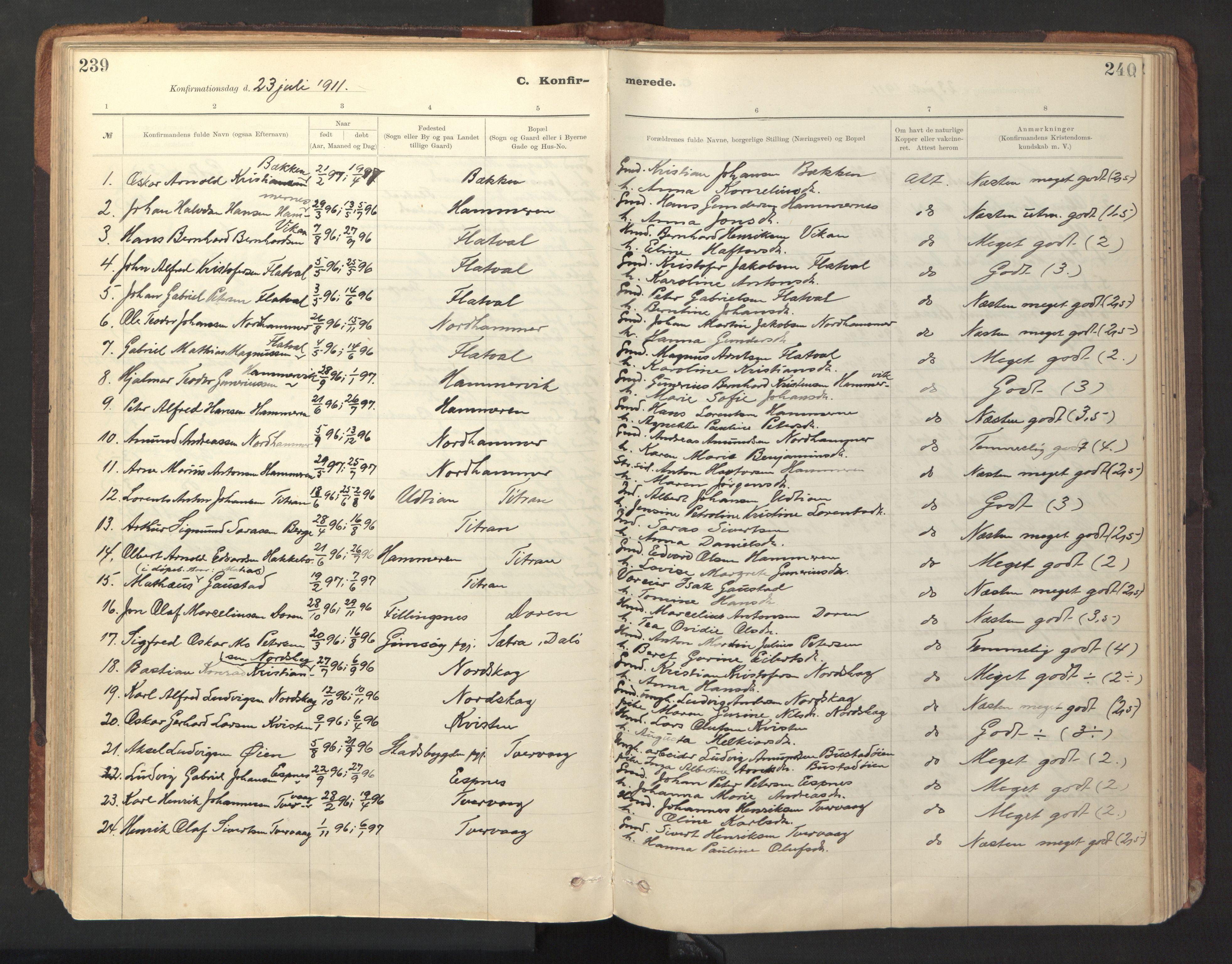 SAT, Ministerialprotokoller, klokkerbøker og fødselsregistre - Sør-Trøndelag, 641/L0596: Ministerialbok nr. 641A02, 1898-1915, s. 239-240