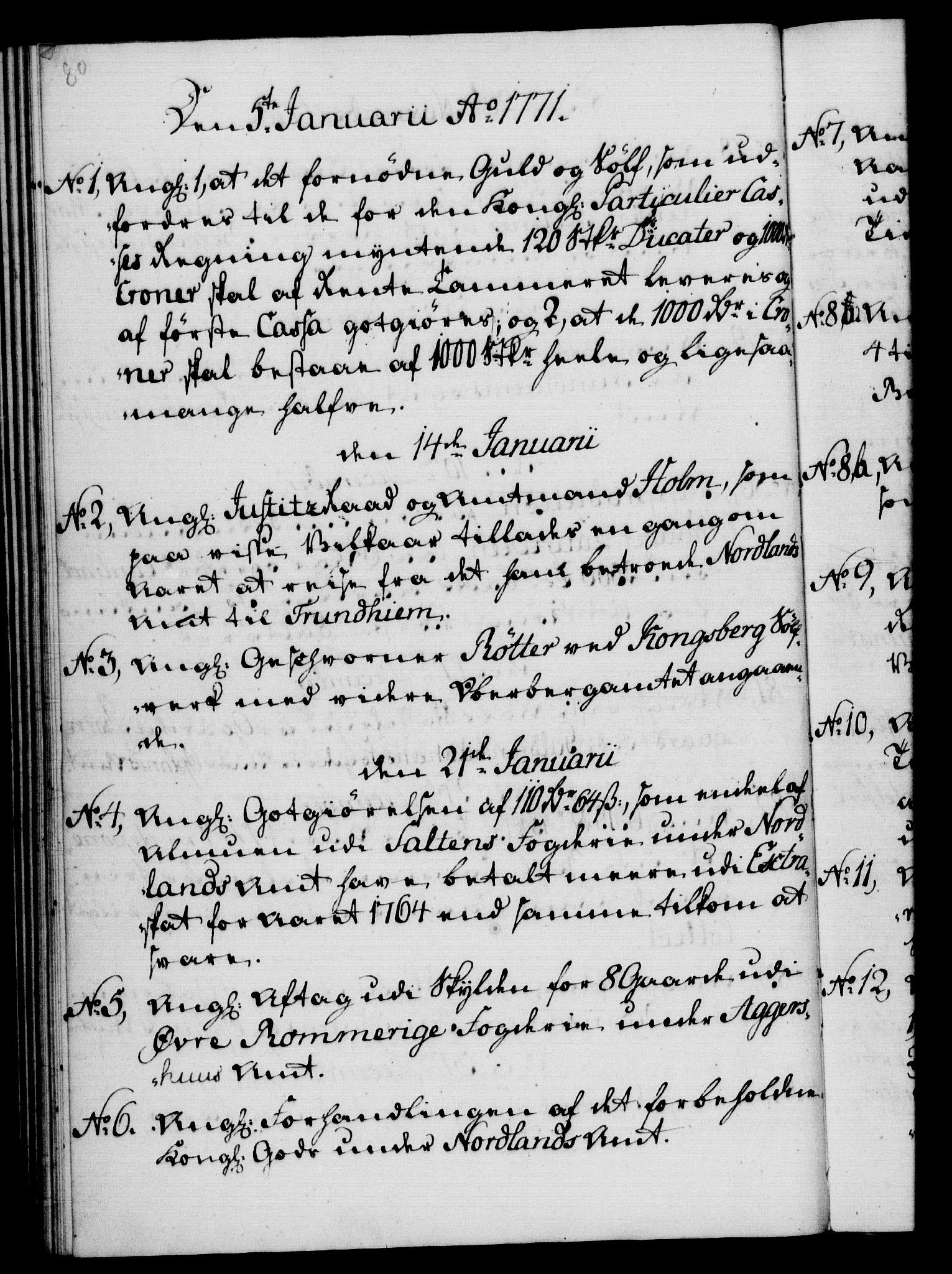 RA, Rentekammeret, Kammerkanselliet, G/Gf/Gfb/L0008: Register til norske relasjons- og resolusjonsprotokoller (merket RK 52.103), 1766-1771, s. 80
