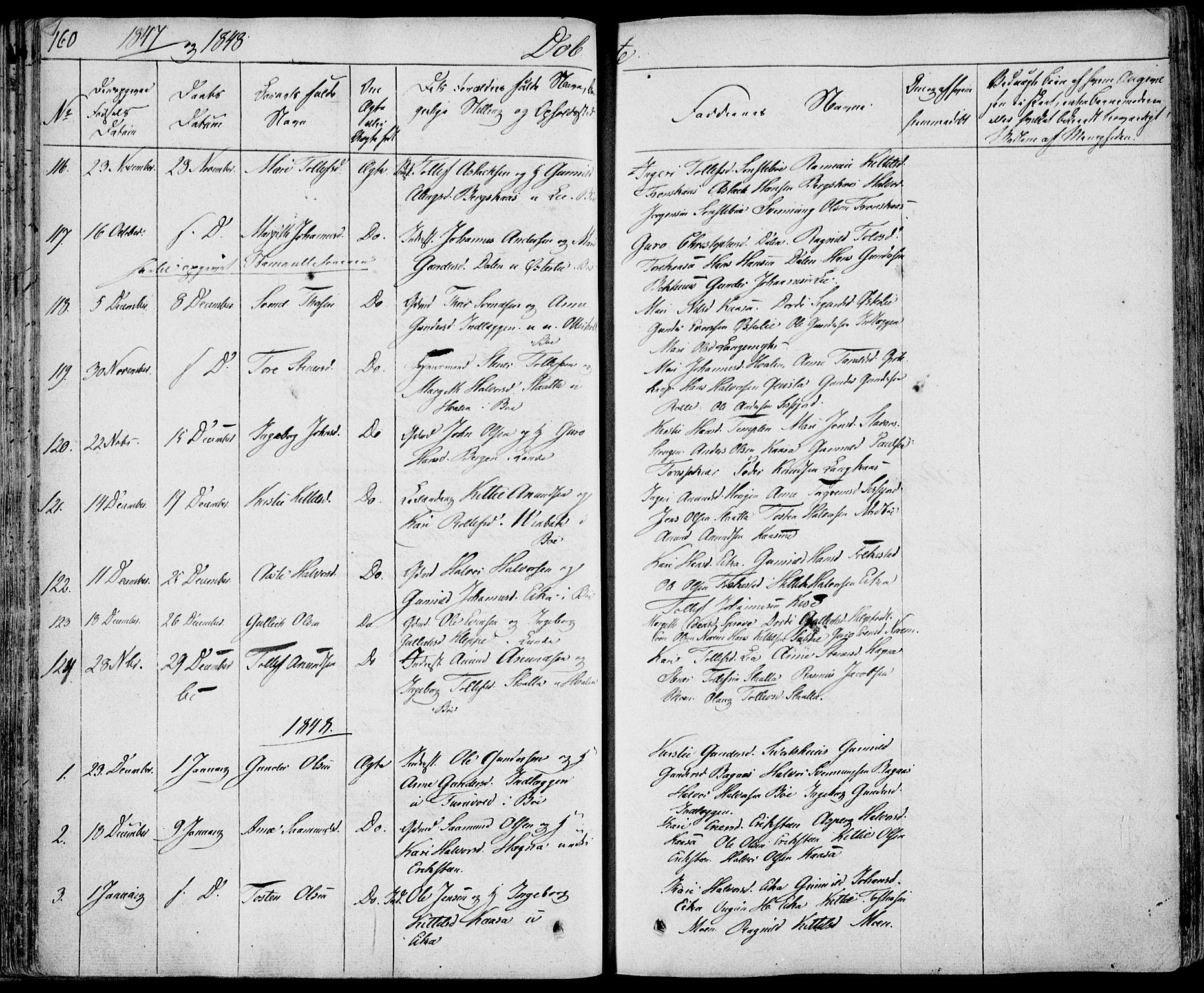 SAKO, Bø kirkebøker, F/Fa/L0007: Ministerialbok nr. 7, 1831-1848, s. 160