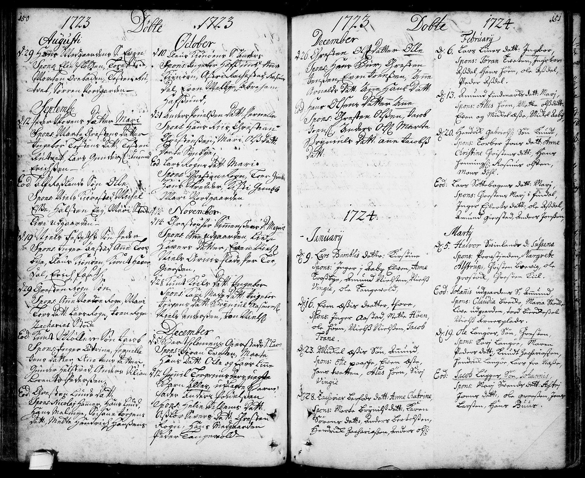 SAKO, Bamble kirkebøker, F/Fa/L0001: Ministerialbok nr. I 1, 1702-1774, s. 150-151